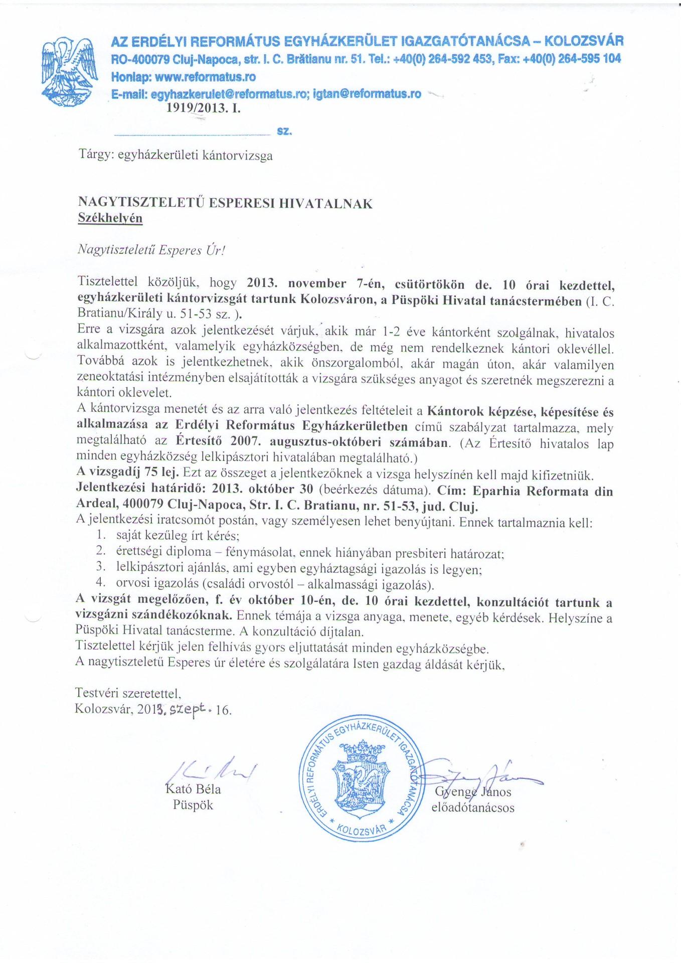Egyházkerületi kántorvizsga Kolozsváron