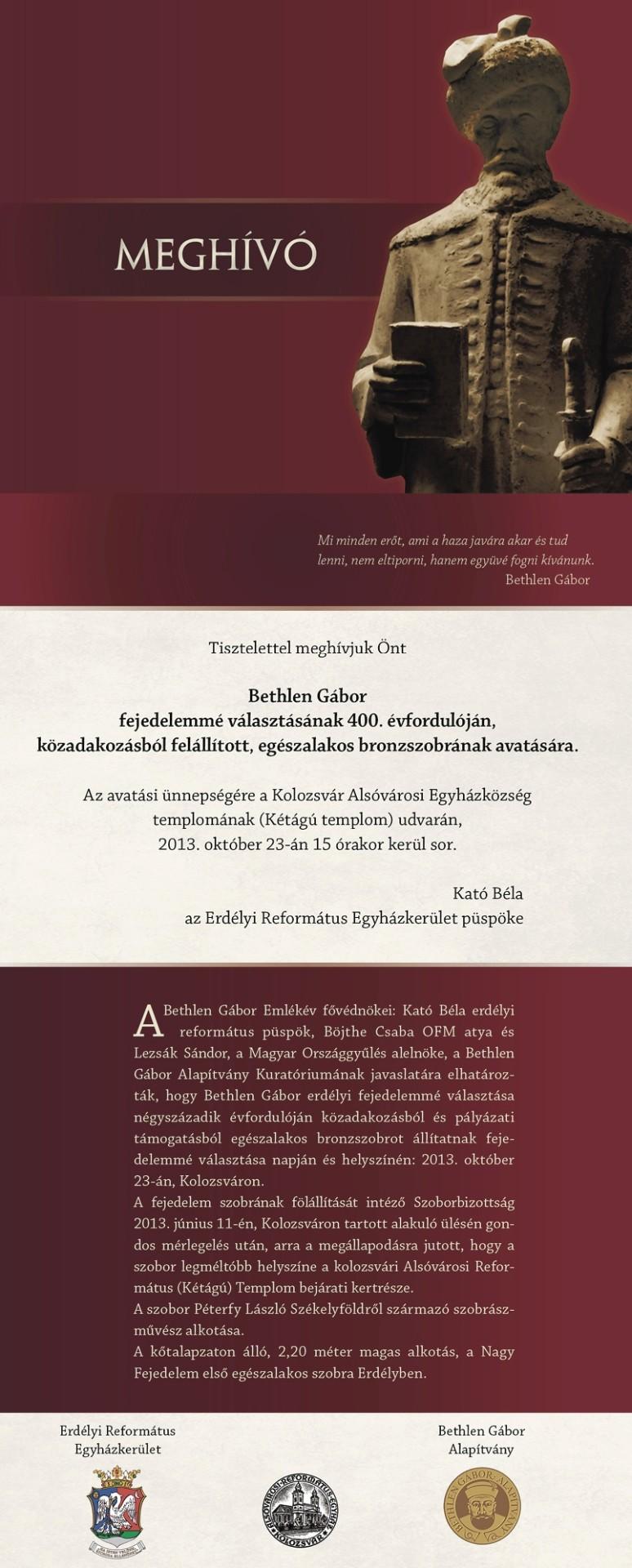 Meghívó Bethlen Gábor egészalakos bronzszobrának avatására