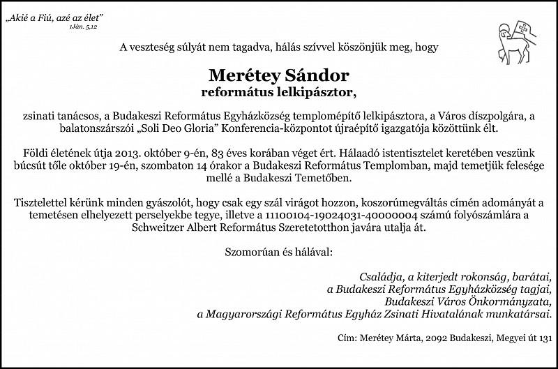 Gyászjelentés - Merétey Sándor