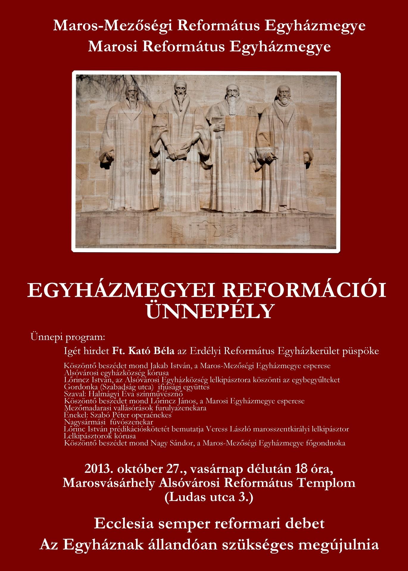 Közös reformációi ünnepélyt szervez a Marosi és a Maros-Mezőségi Református Egyházmegye