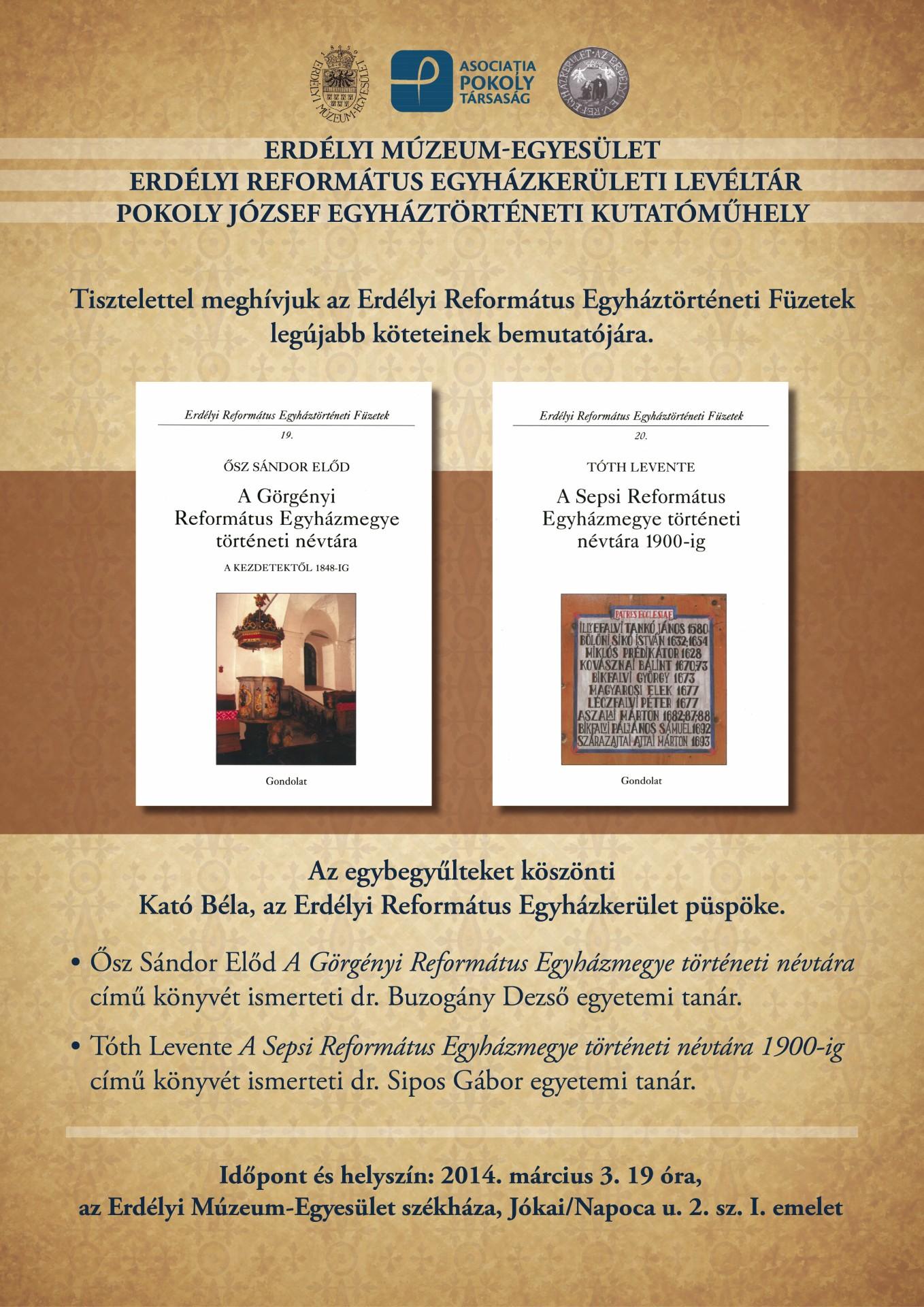 Ősz Sándor Előd A Görgényi Református Egyházmegye történeti névtára című könyvét mutatják be