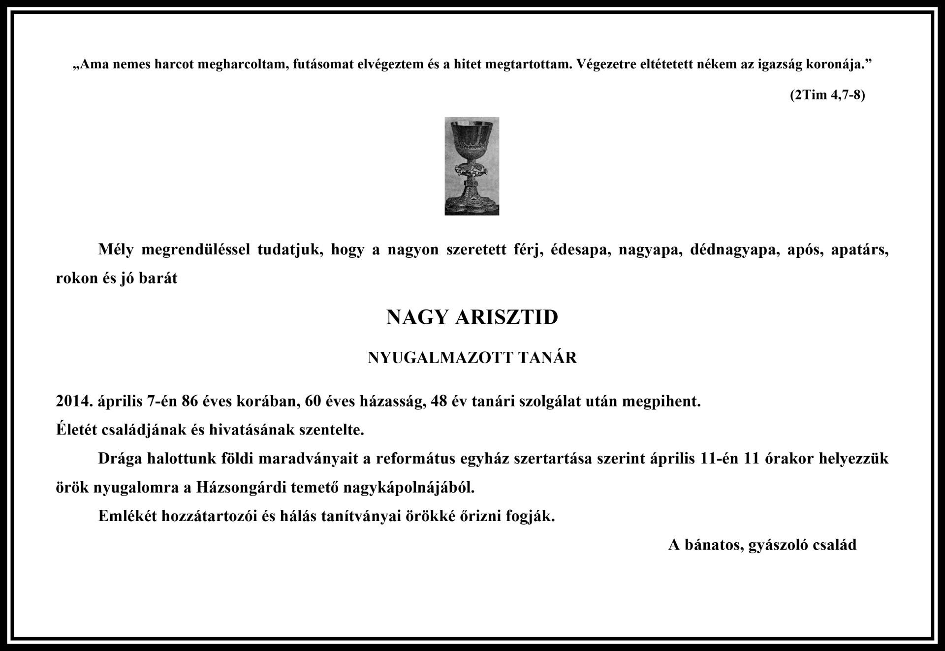 Gyászjelentés - Nagy Arisztid