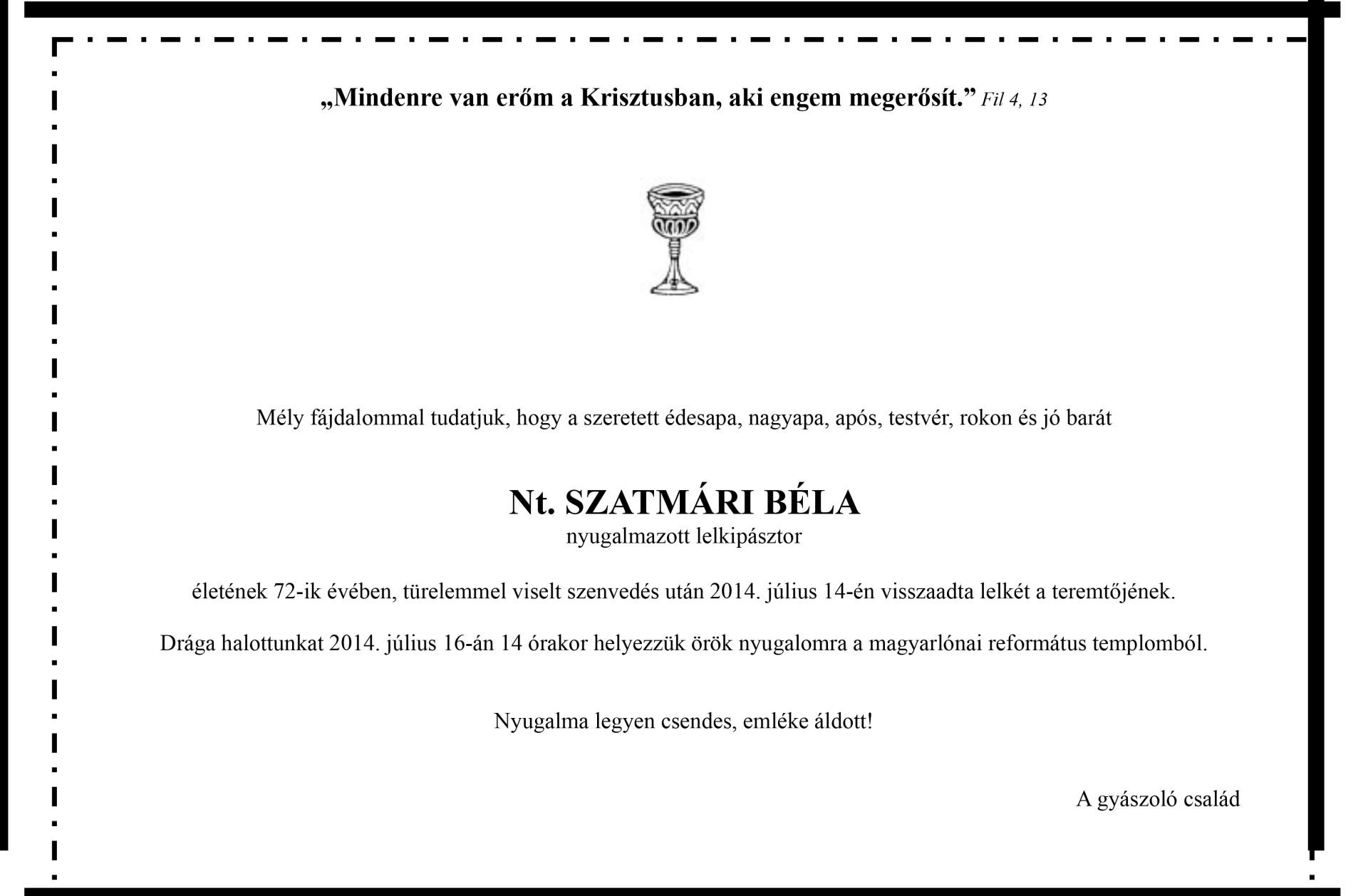 Gyászjelentés - Szatmári Béla