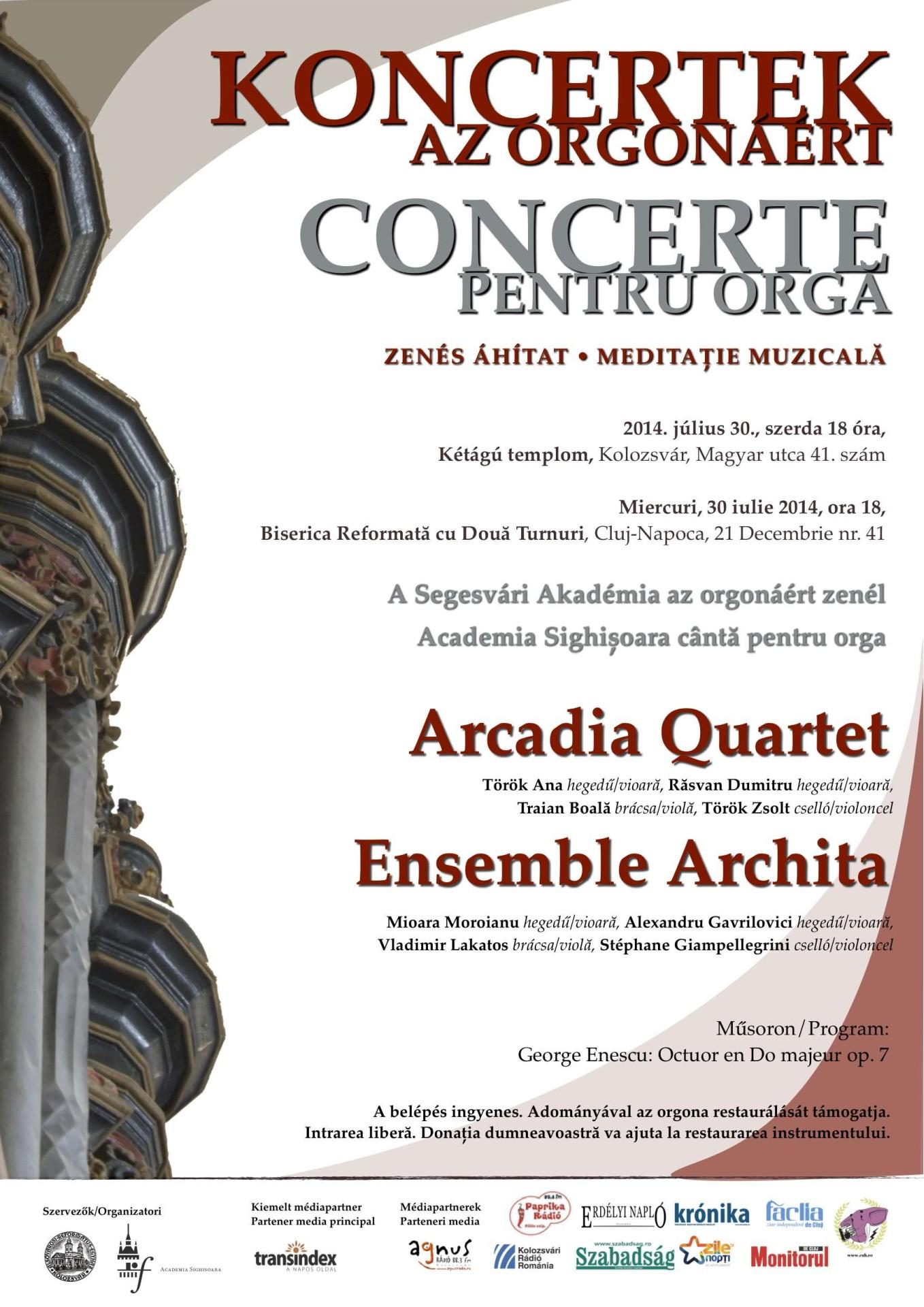 Az Arcadia kvartett koncertje a kolozsvári Kétágú templomban