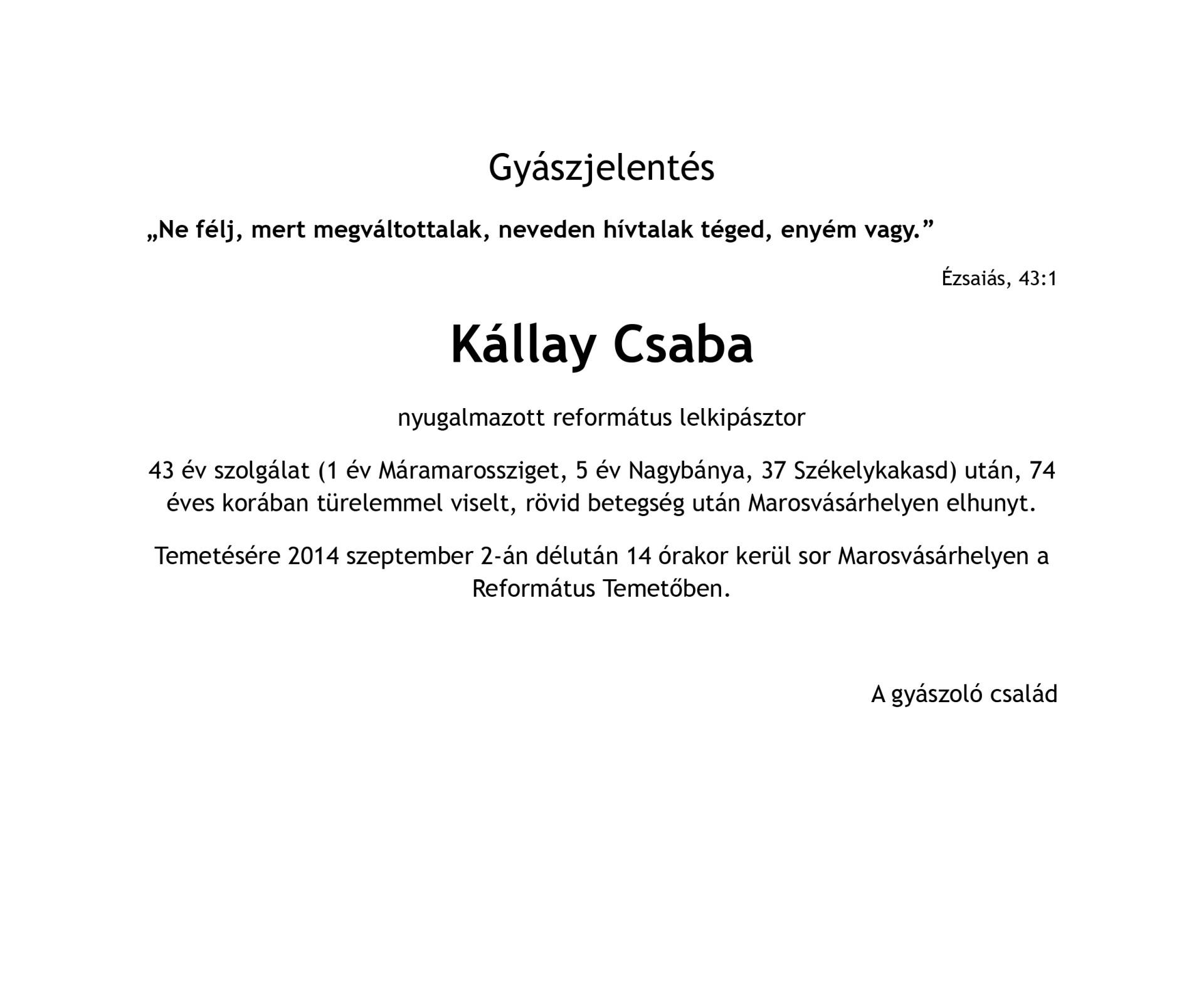 Gyászjelentés - Kállay Csaba nyugalmazott lelkipásztor