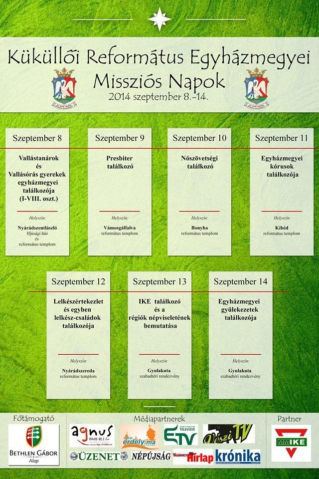 Küküllői Református Egyházmegyei Missziós Napok szeptemberben