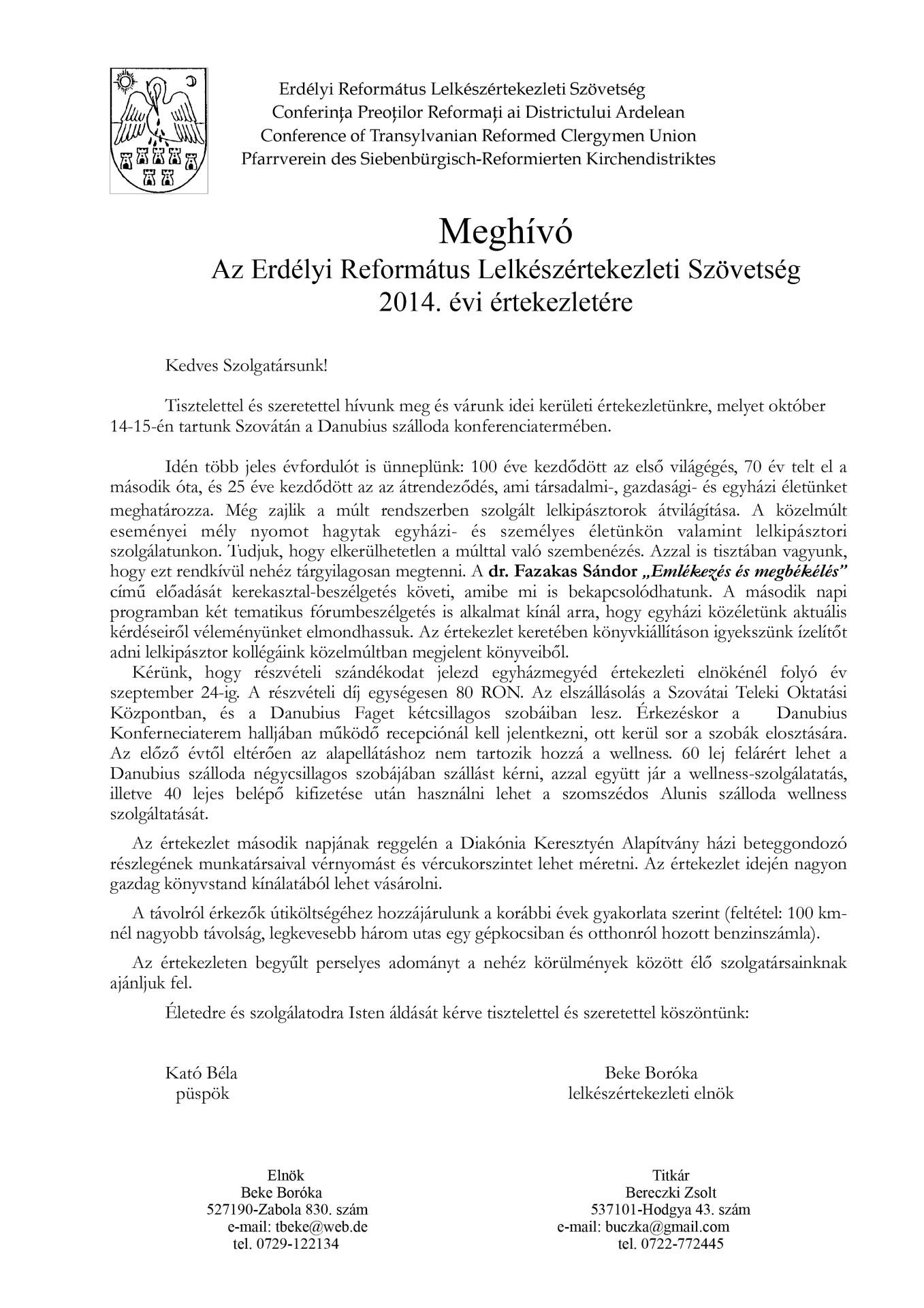 Meghívó - az Erdélyi Református Lelkészértekezleti Szövetség 2014. évi értekezletére