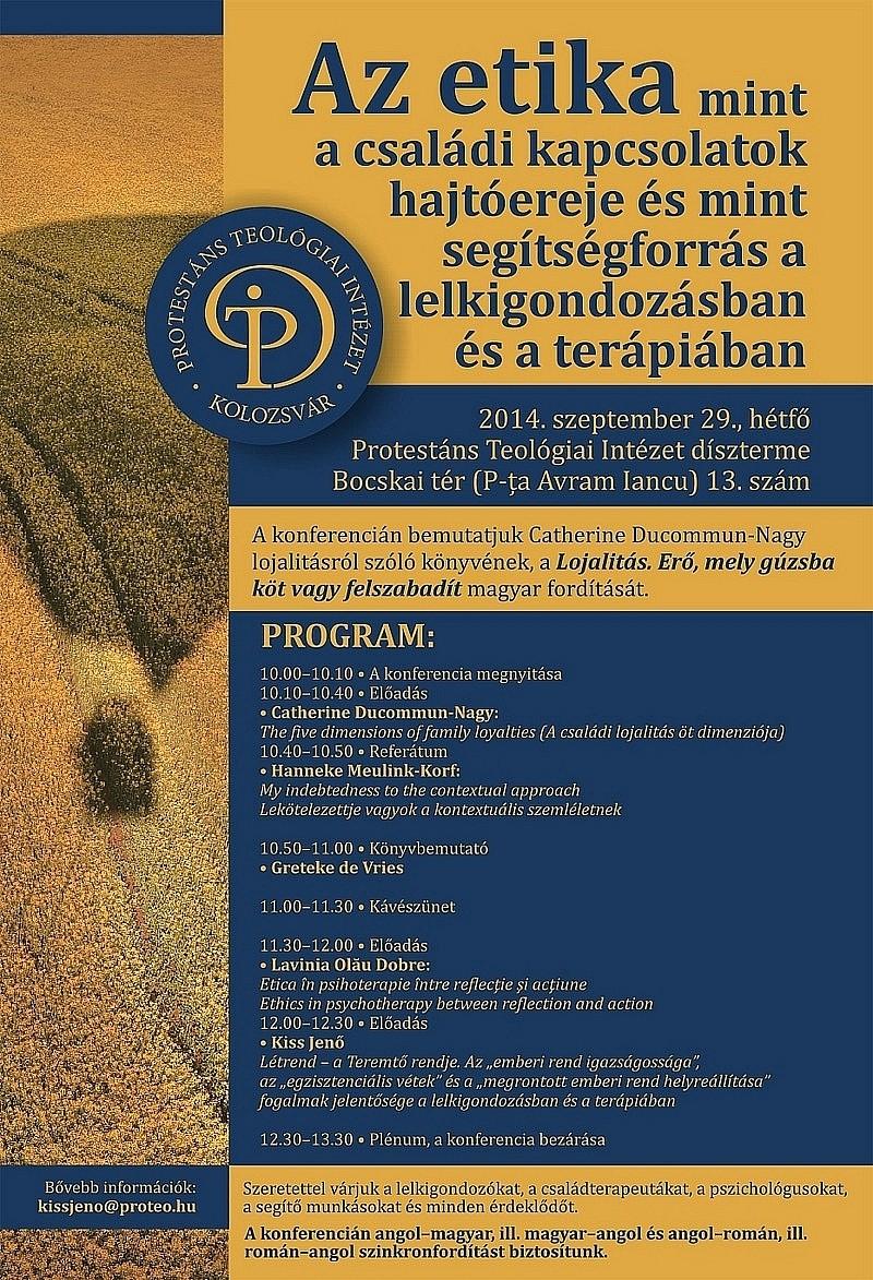 Meghívó - Konferencia: Az etika, mint a családi kapcsolatok hajtóereje
