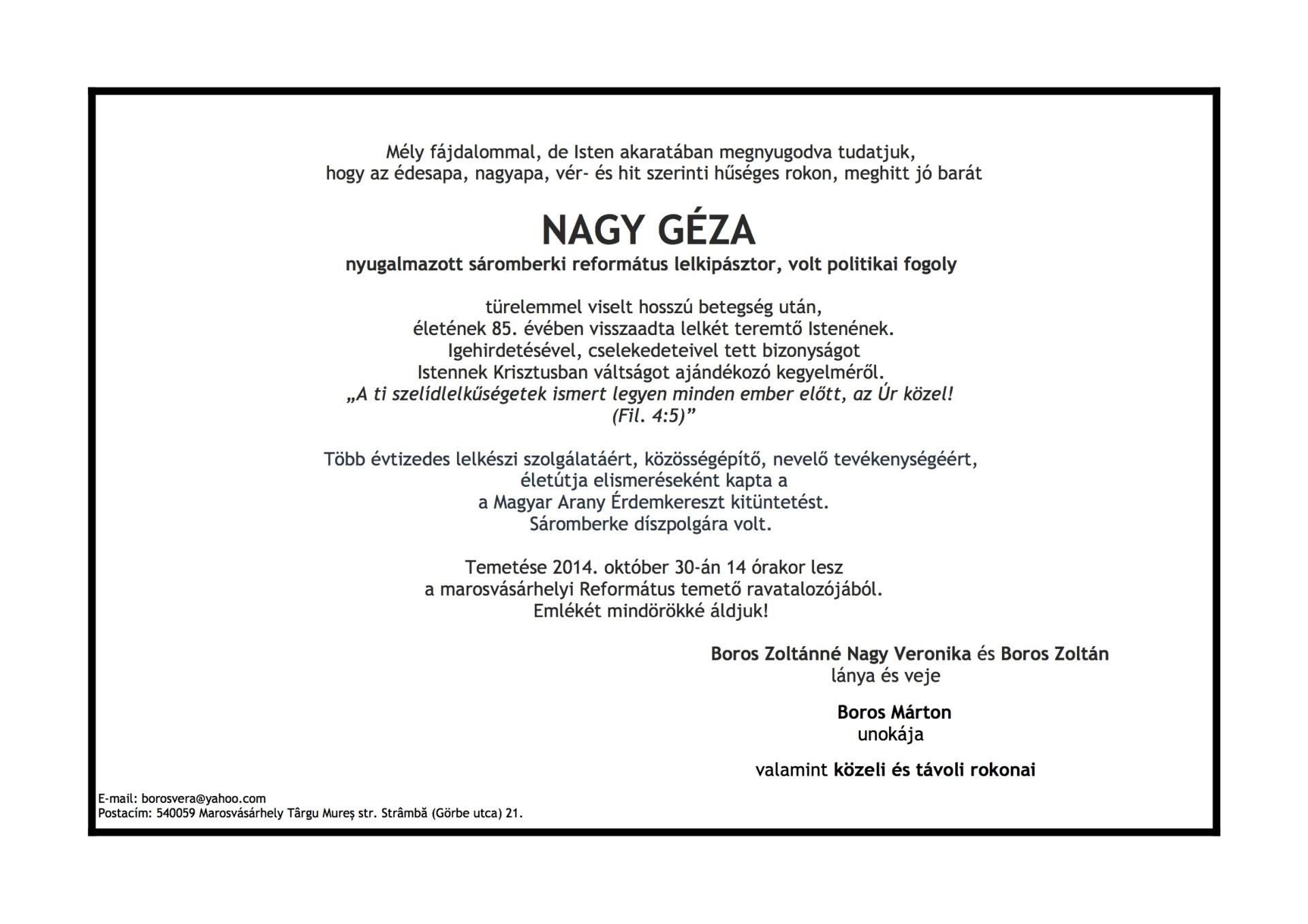 Gyászjelentés - Nagy Géza