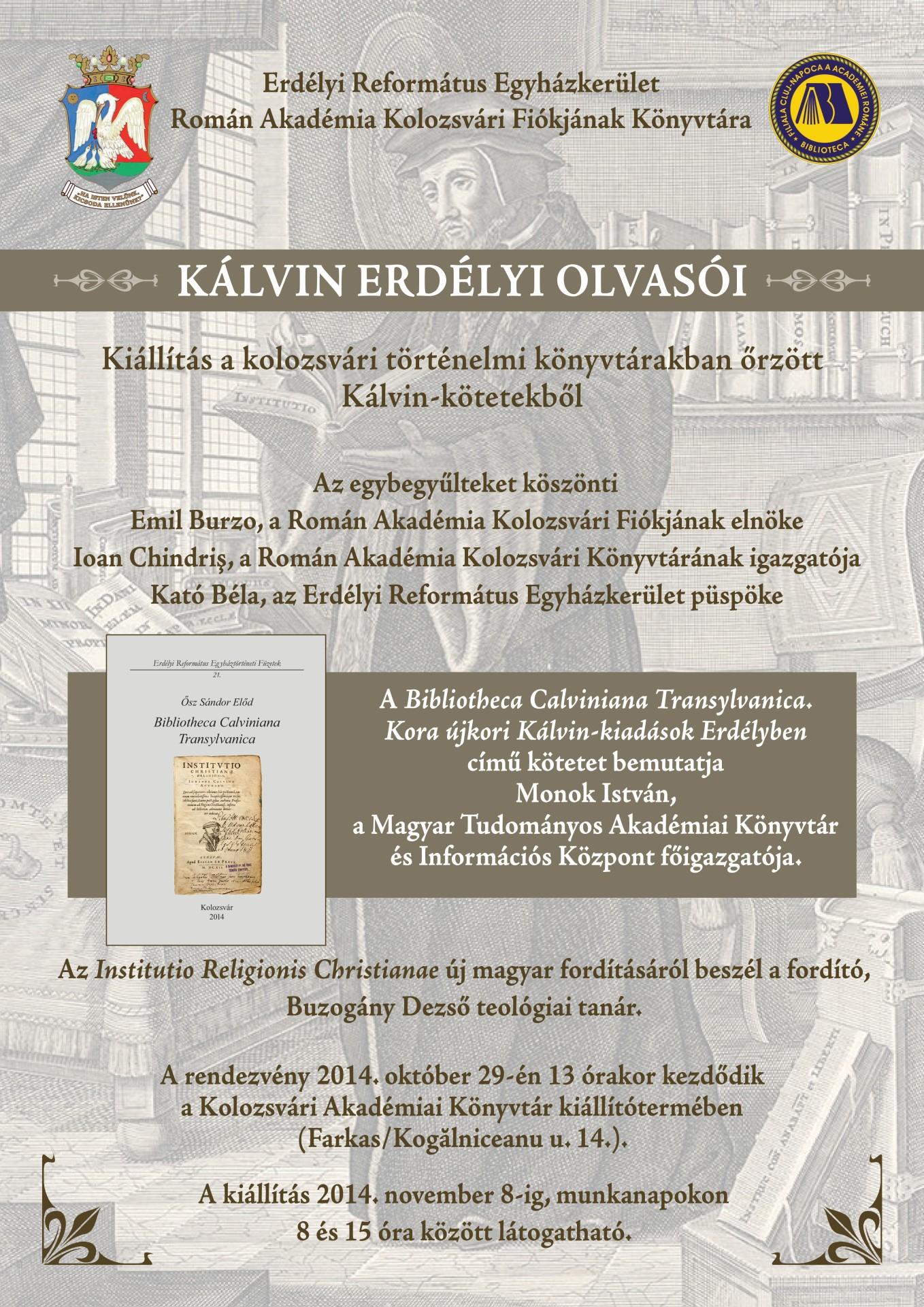 Meghívó - Kálvin erdélyi olvasói