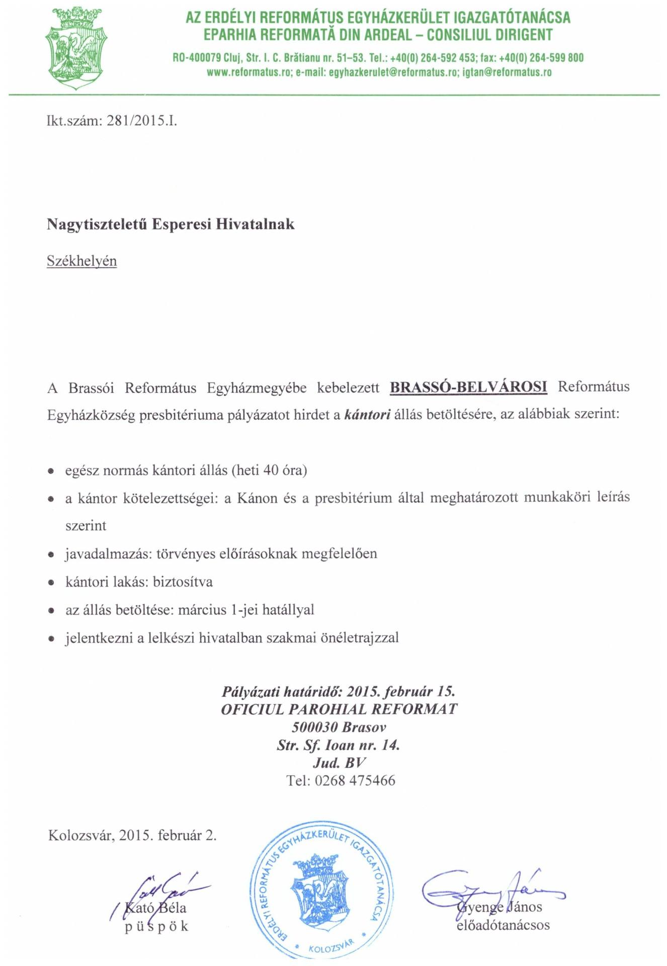 Pályázat - Kántori állás - Brassó-Belvárosi Református Egyházközség