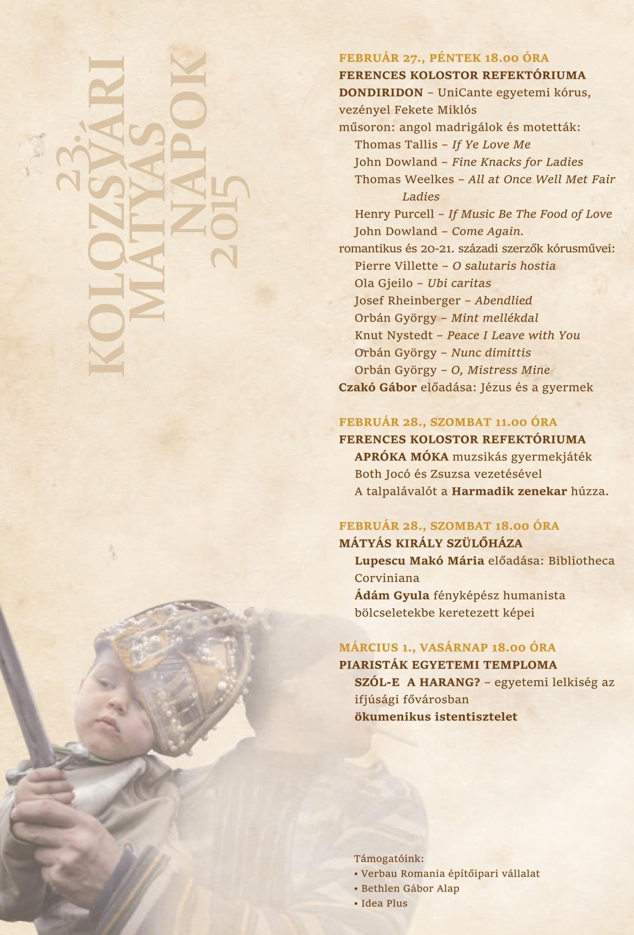 Meghívó - 23. Kolozsvári Mátyás Napok