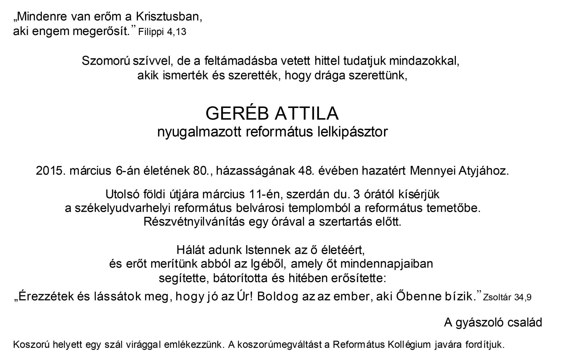 Gyászjelentés - Geréb Attila