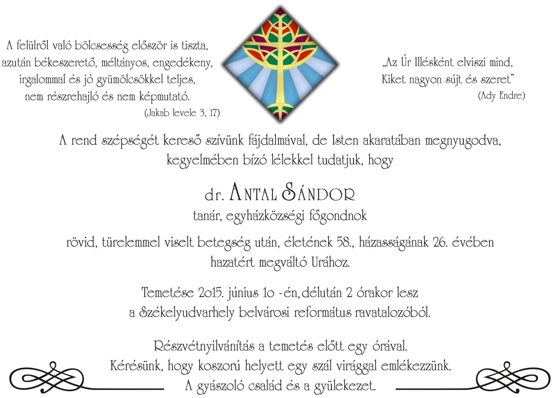 Gyászjelentés - Antal Sándor