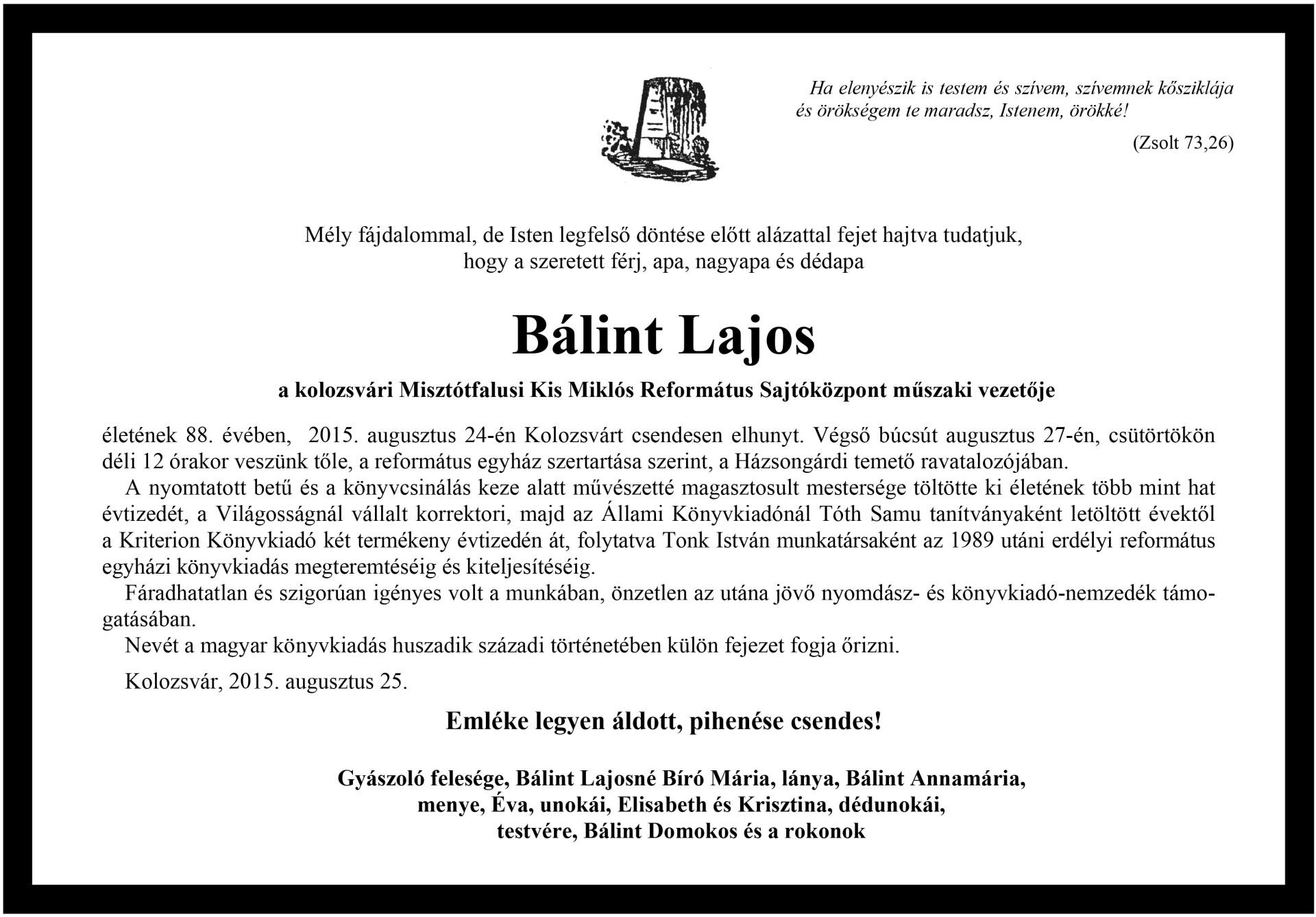 Gyászjelentés - Bálint Lajos