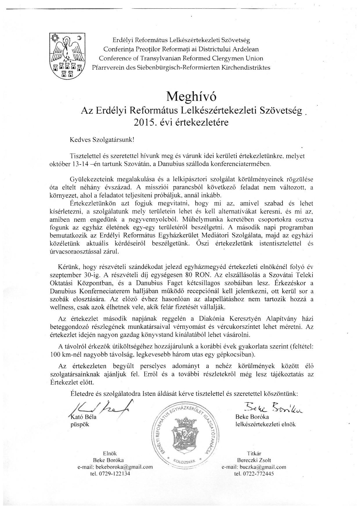 Meghívó az Erdélyi Református Lelkészértekezleti Szövetség 2015. évi értekezletére