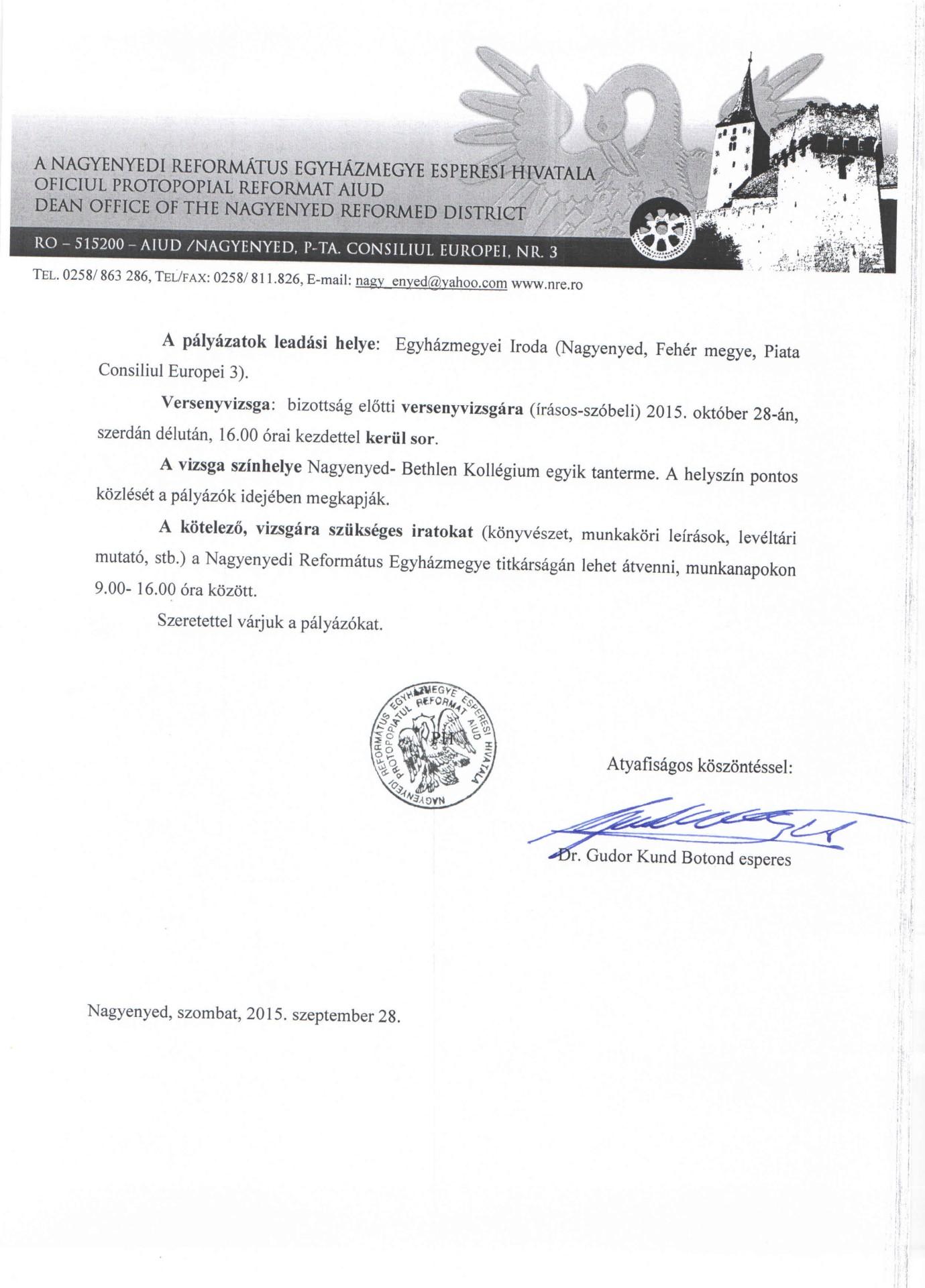 Egyházmegyei titkár és könyvelői állás a Nagyenyedi Református Egyházmegyében