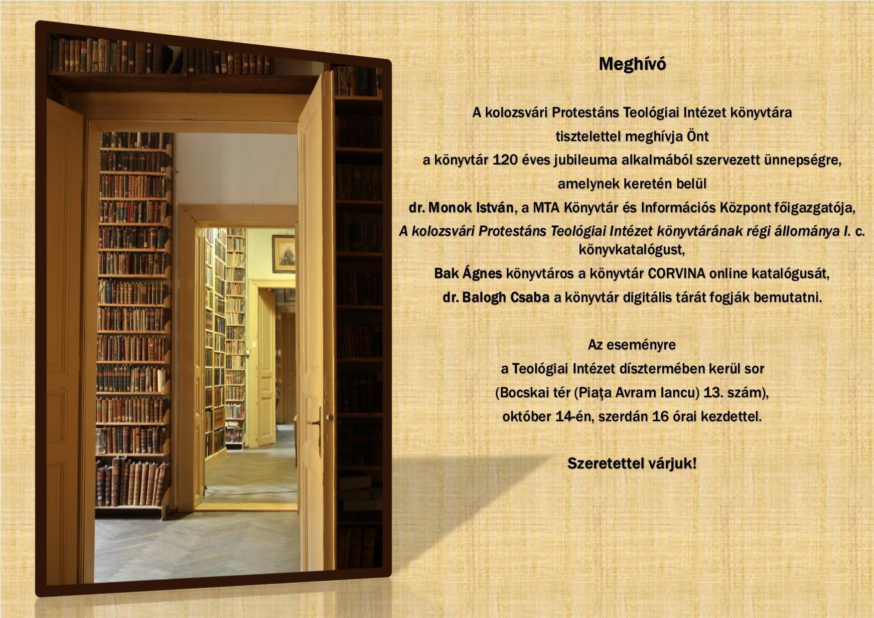 120 éves a Kolozsvári Protestáns Teológiai Intézet könyvtára