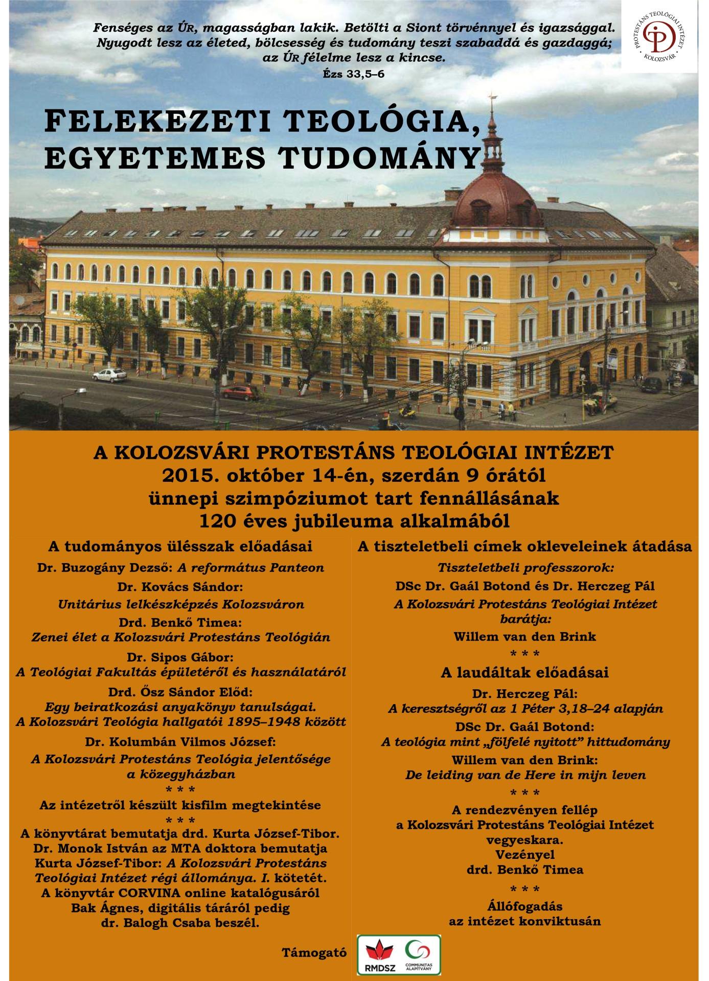 120 éves a Kolozsvári Protestáns Teológiai Intézet