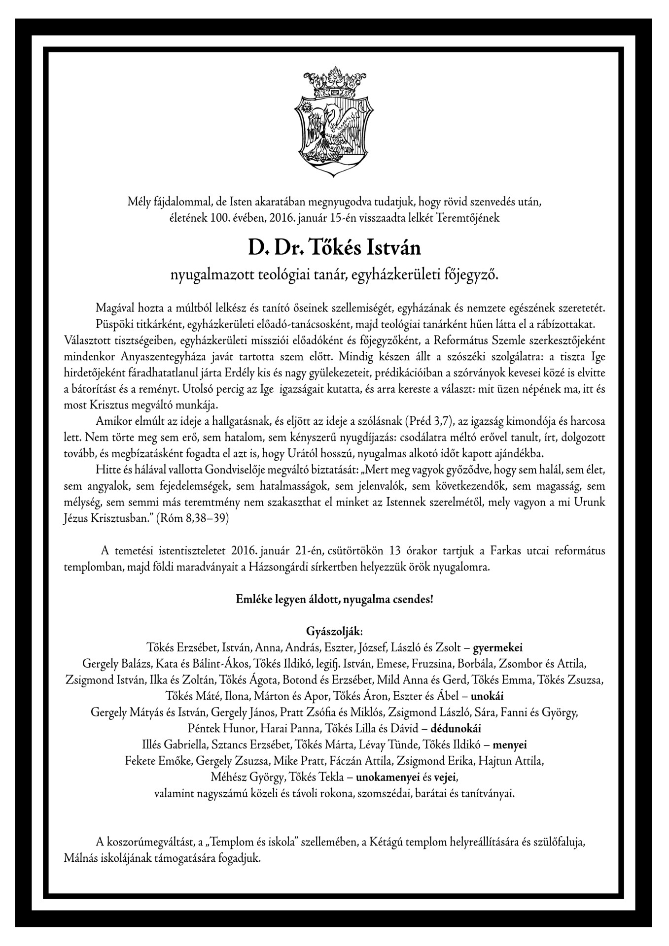 Gyászjelentés - Tőkés István