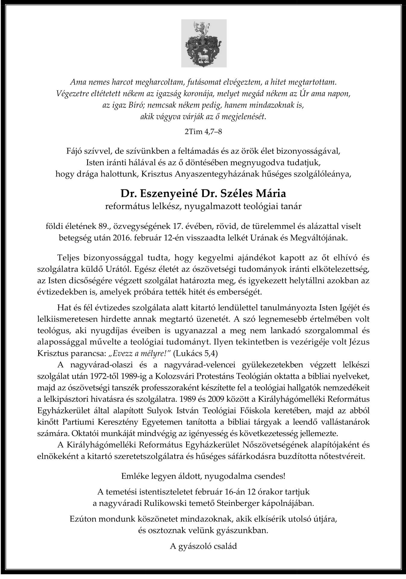 Gyászjelentés - Dr. Eszenyeiné Dr. Széles Mária