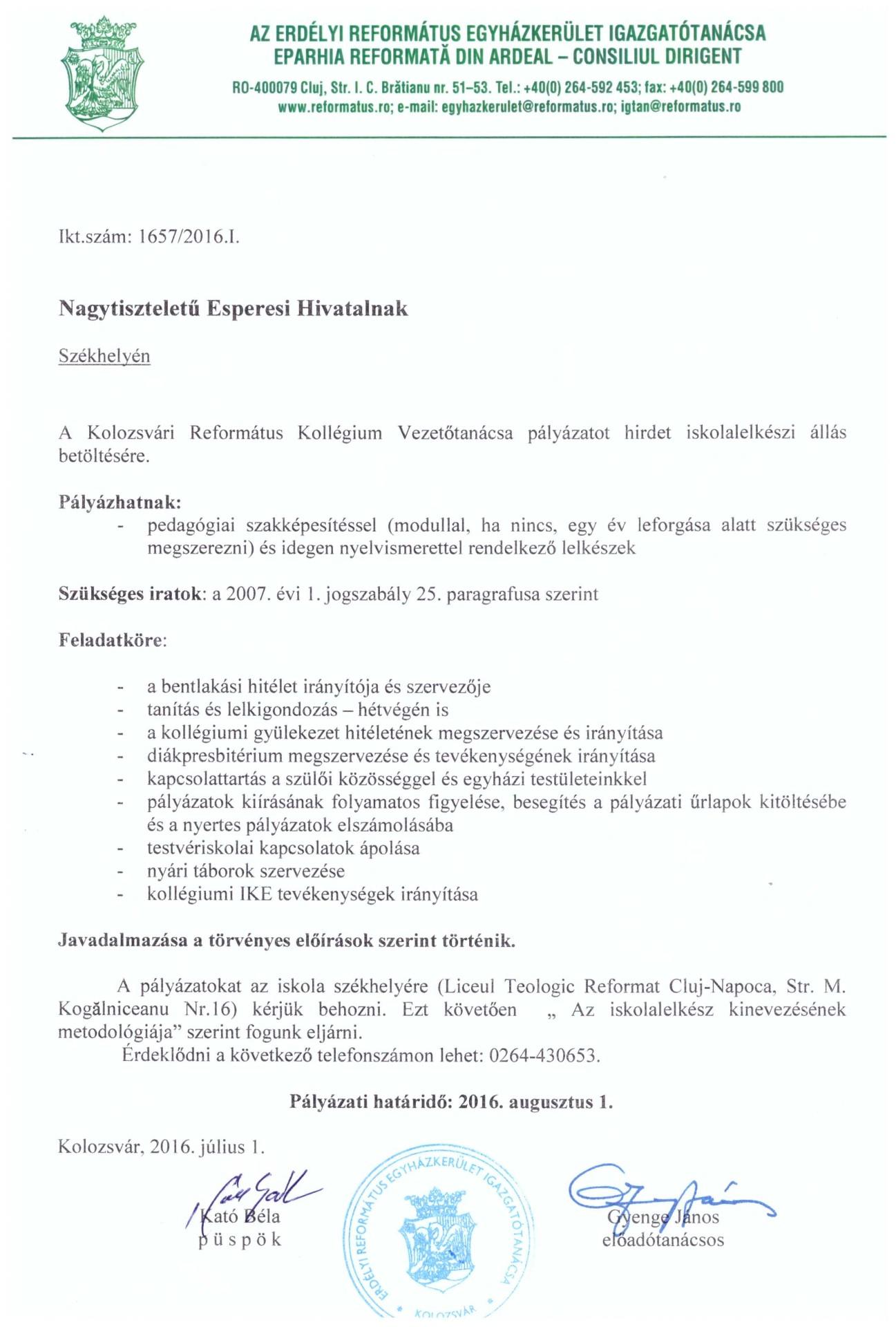 Pályázat - Kolozsvári Református Kollégium