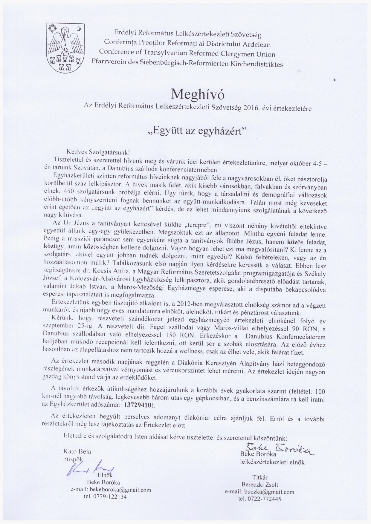 Meghívó az Erdélyi Református Lelkészértekezleti Szövetség 2016. évi értekezletére