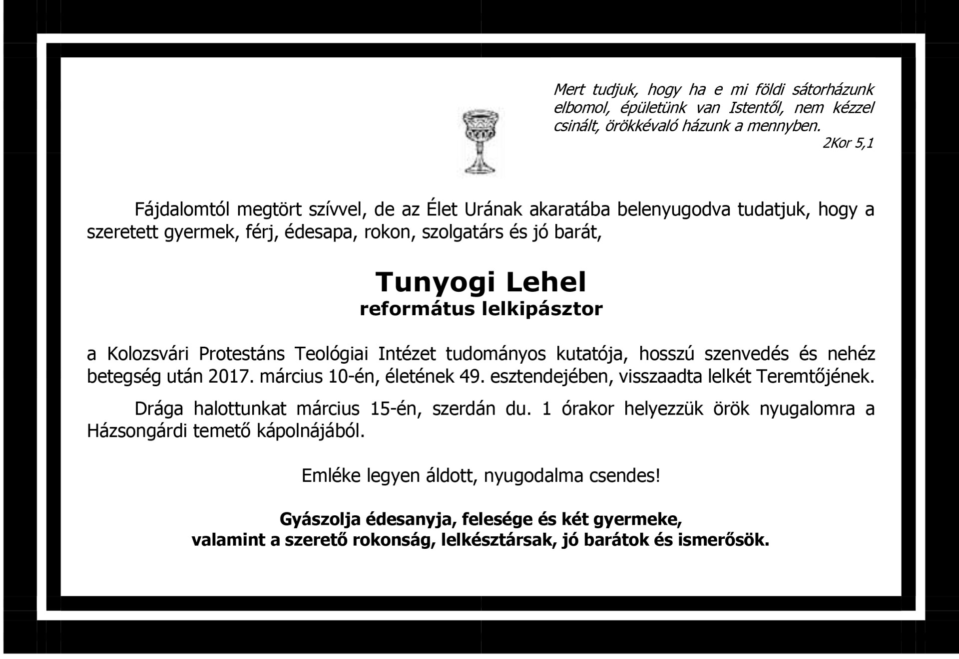 Gyászjelentés - dr. Tunyogi Lehel Tibor