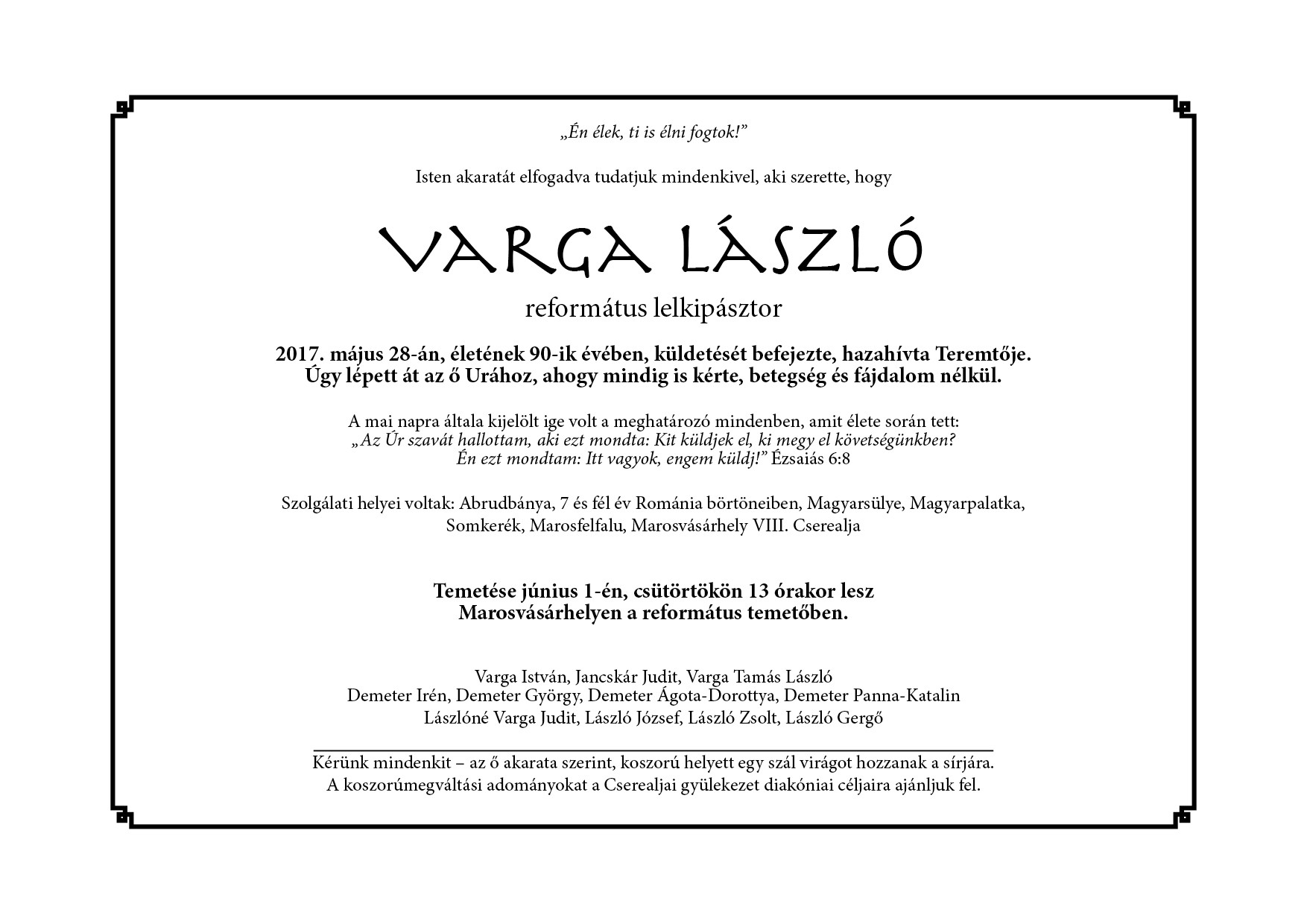 Gyászjelentés – Varga László