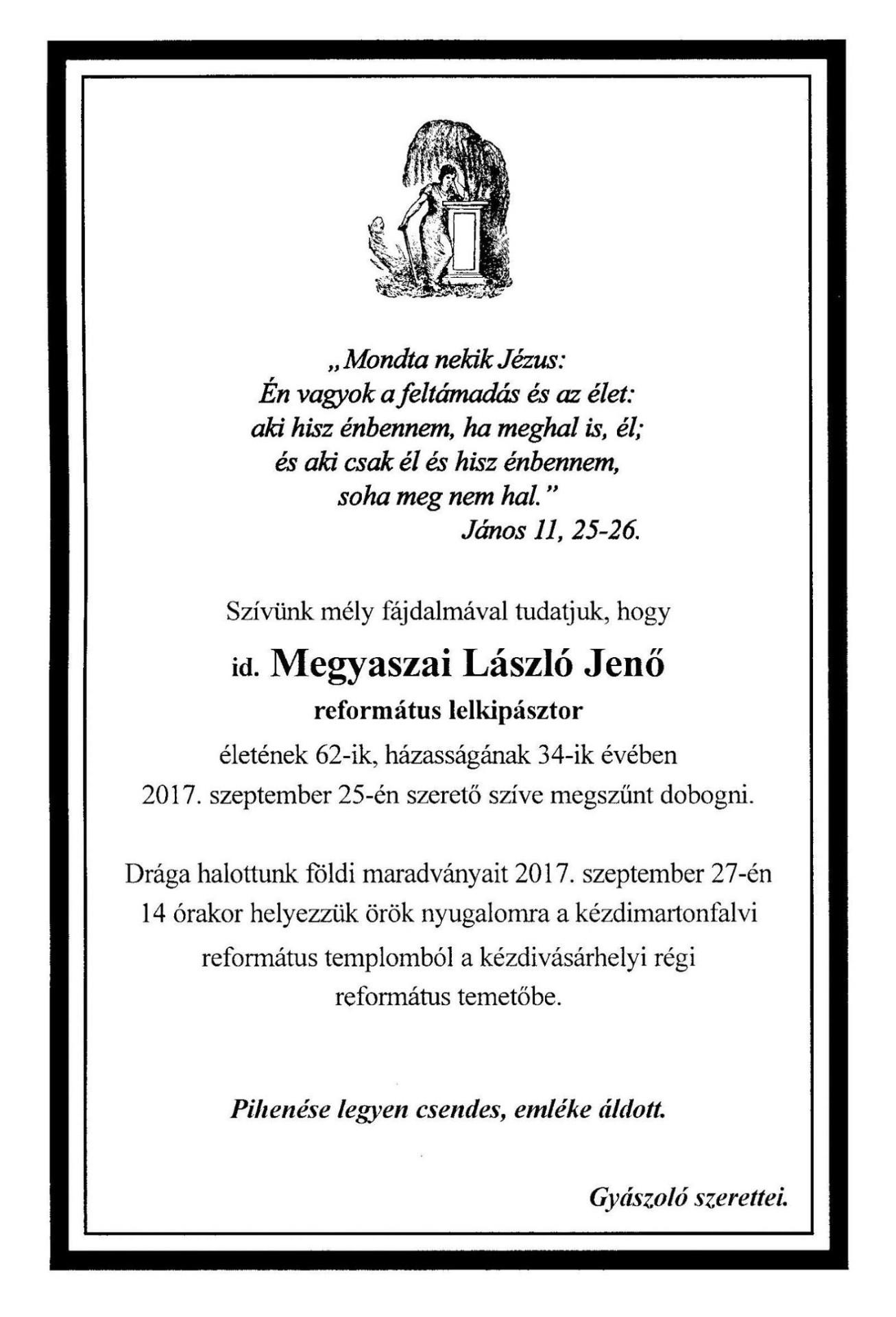 Gyászjelentés - id. Megyasszai László Jenő