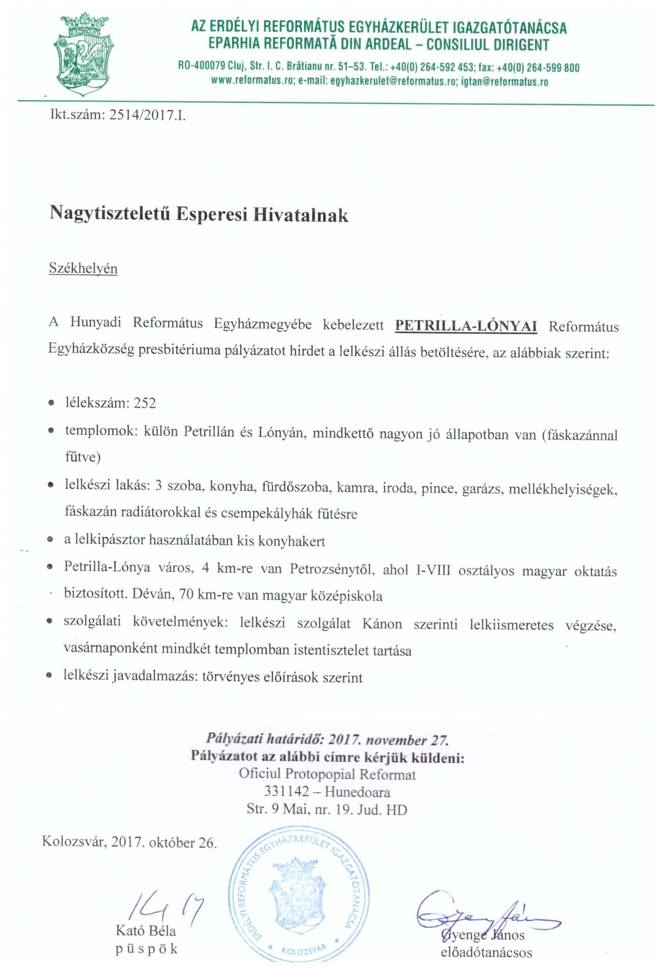 Pályázat - Petrilla-Lónya