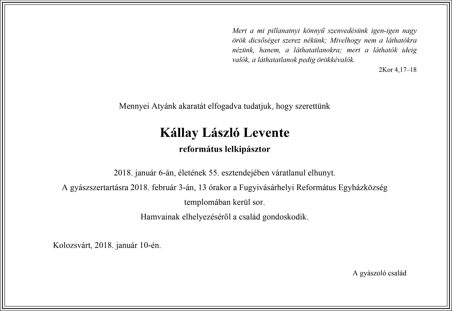 Gyászjelentés - Kállay László Levente