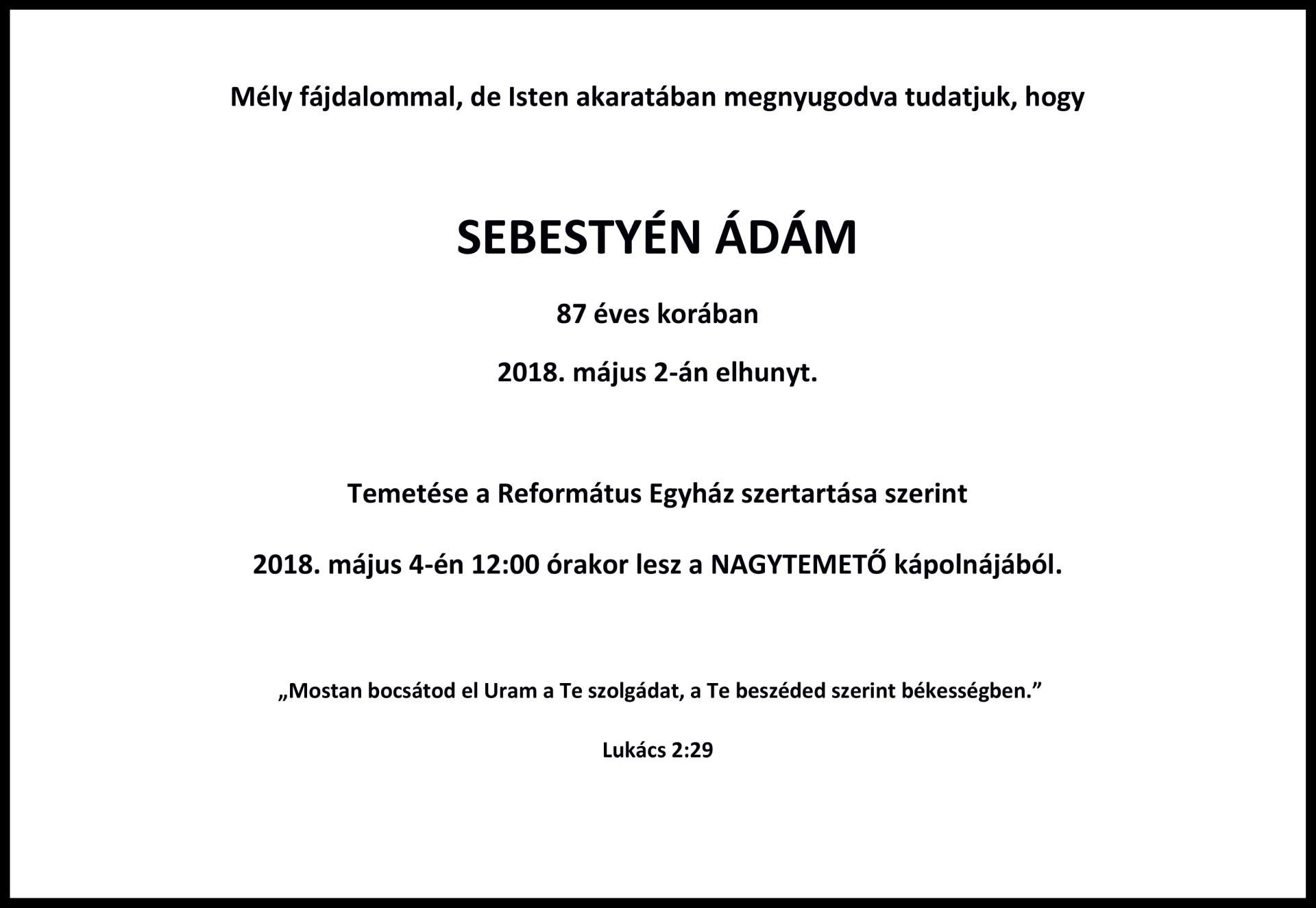 Gyászjelentés - Sebestyén Ádám