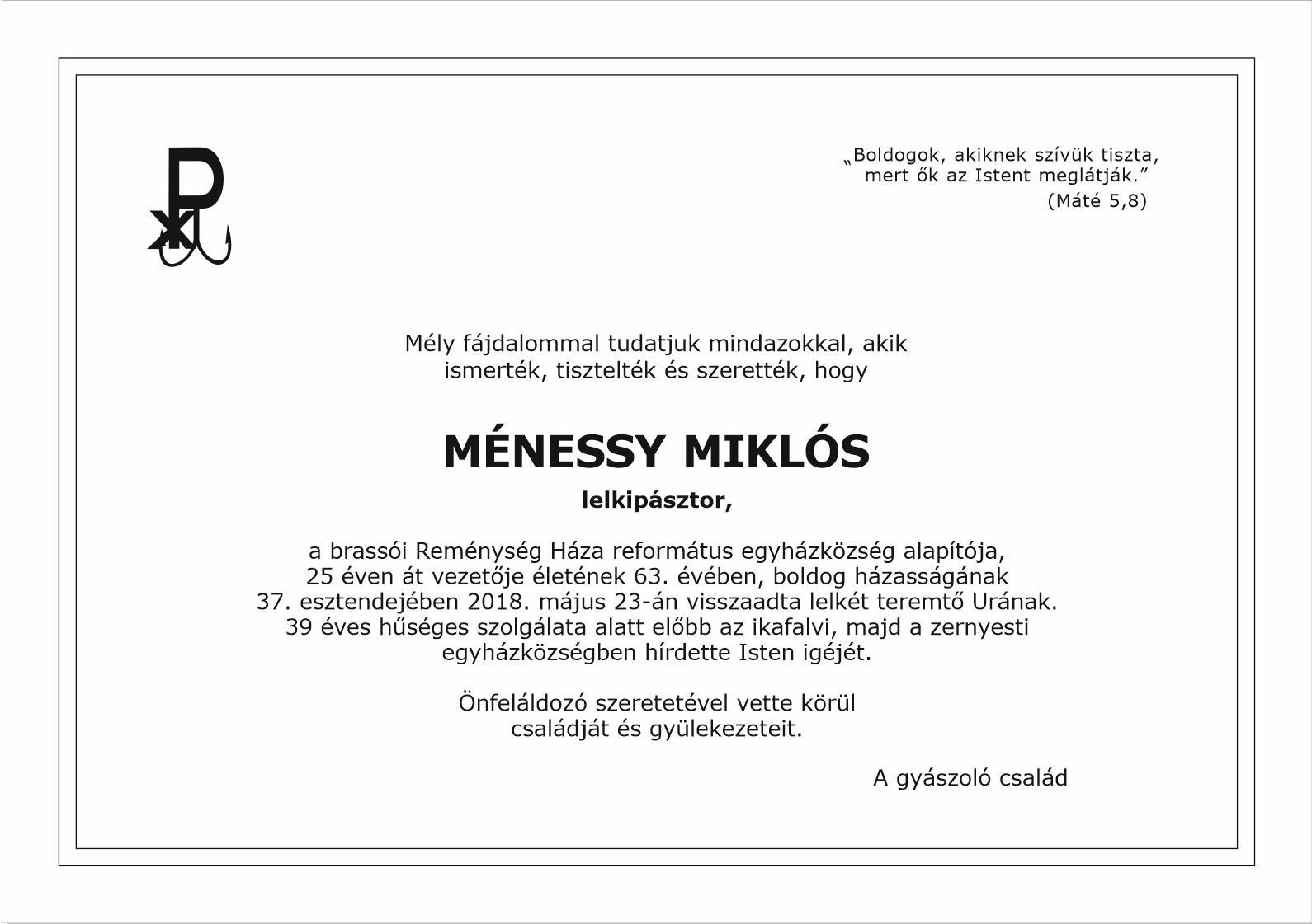 Gyászjelentés - Ménessy Miklós
