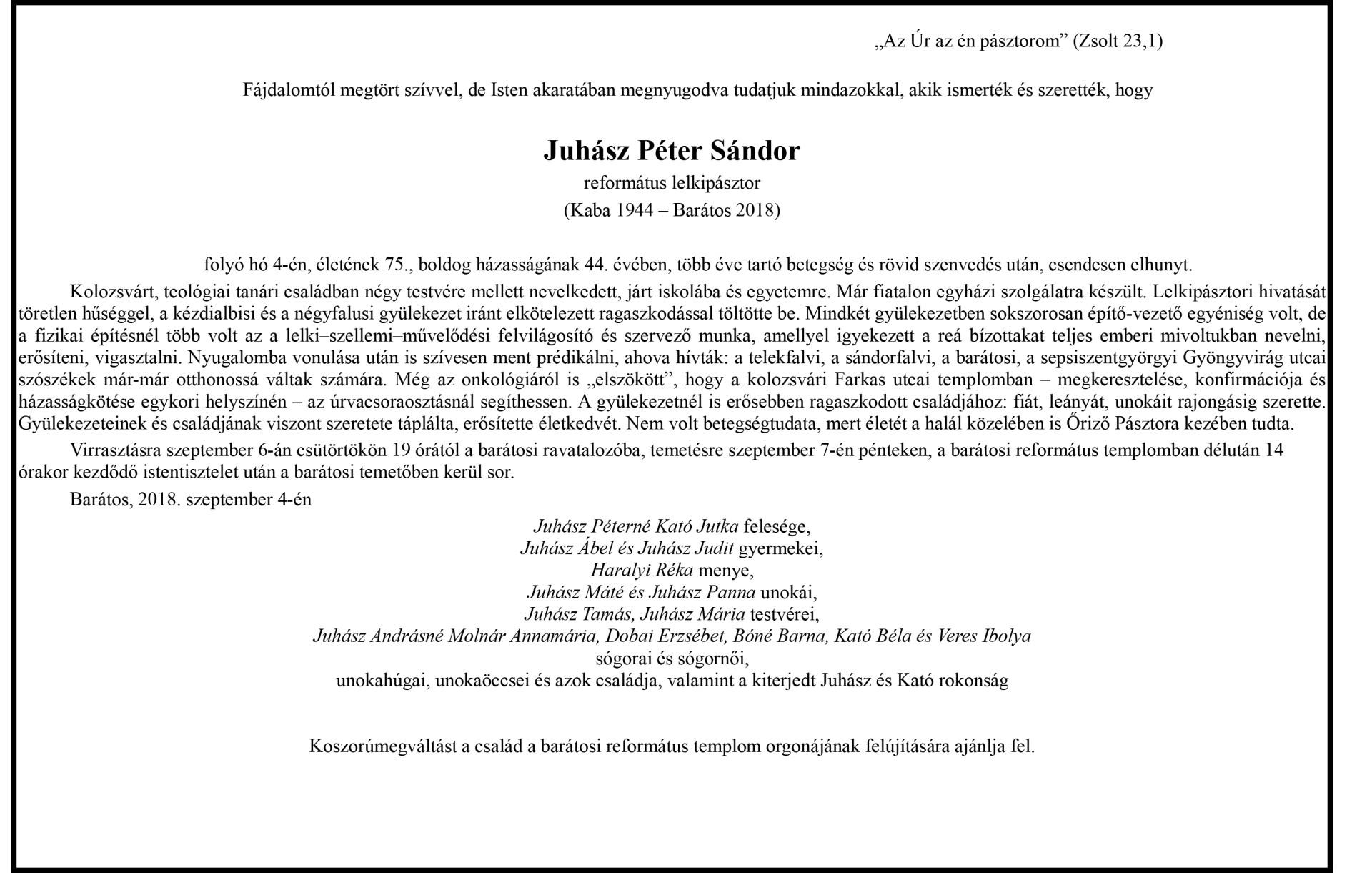Gyászjelenés  - Juhász Péter Sándor