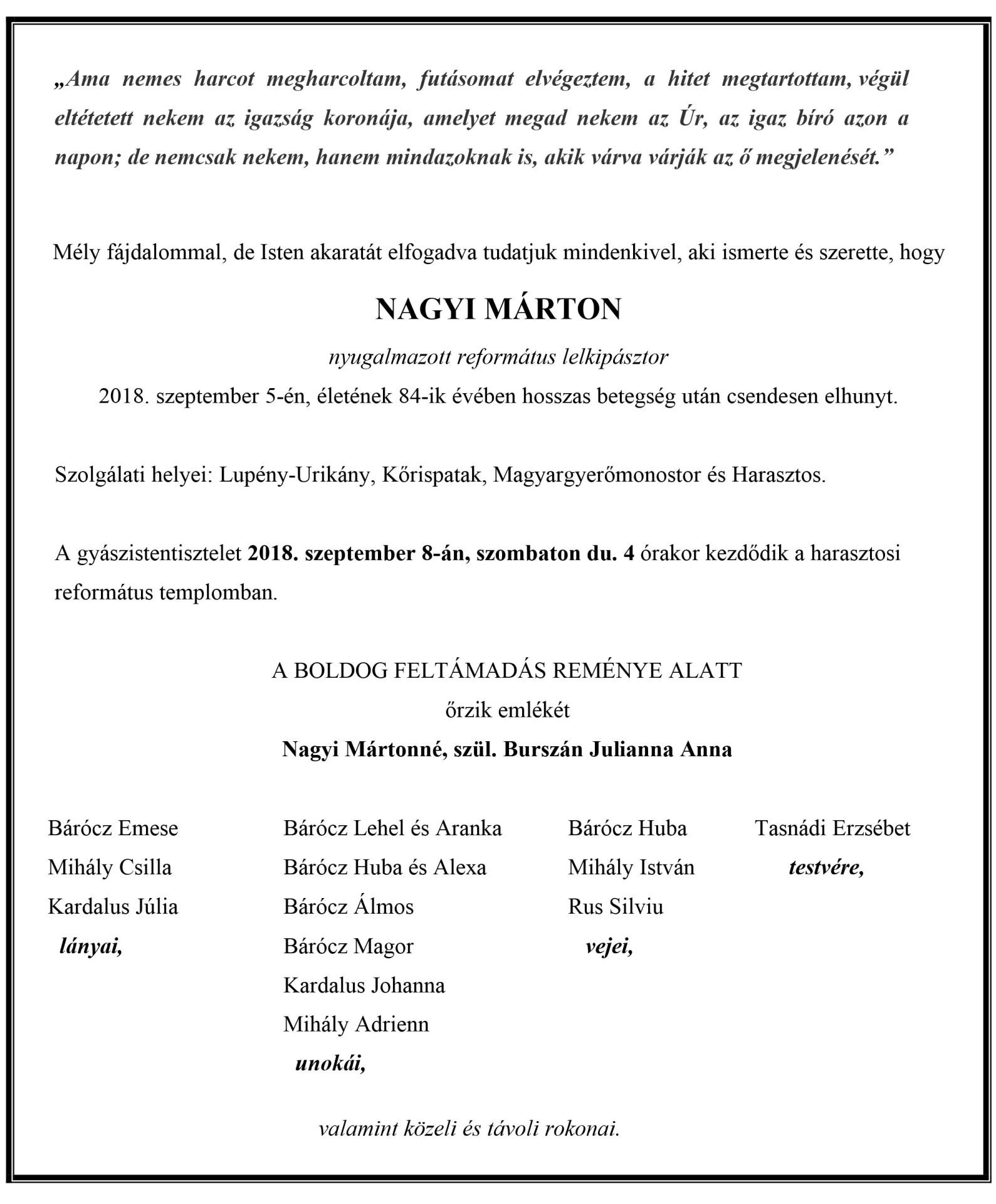 Gyászjelentés  - Nagyi Márton