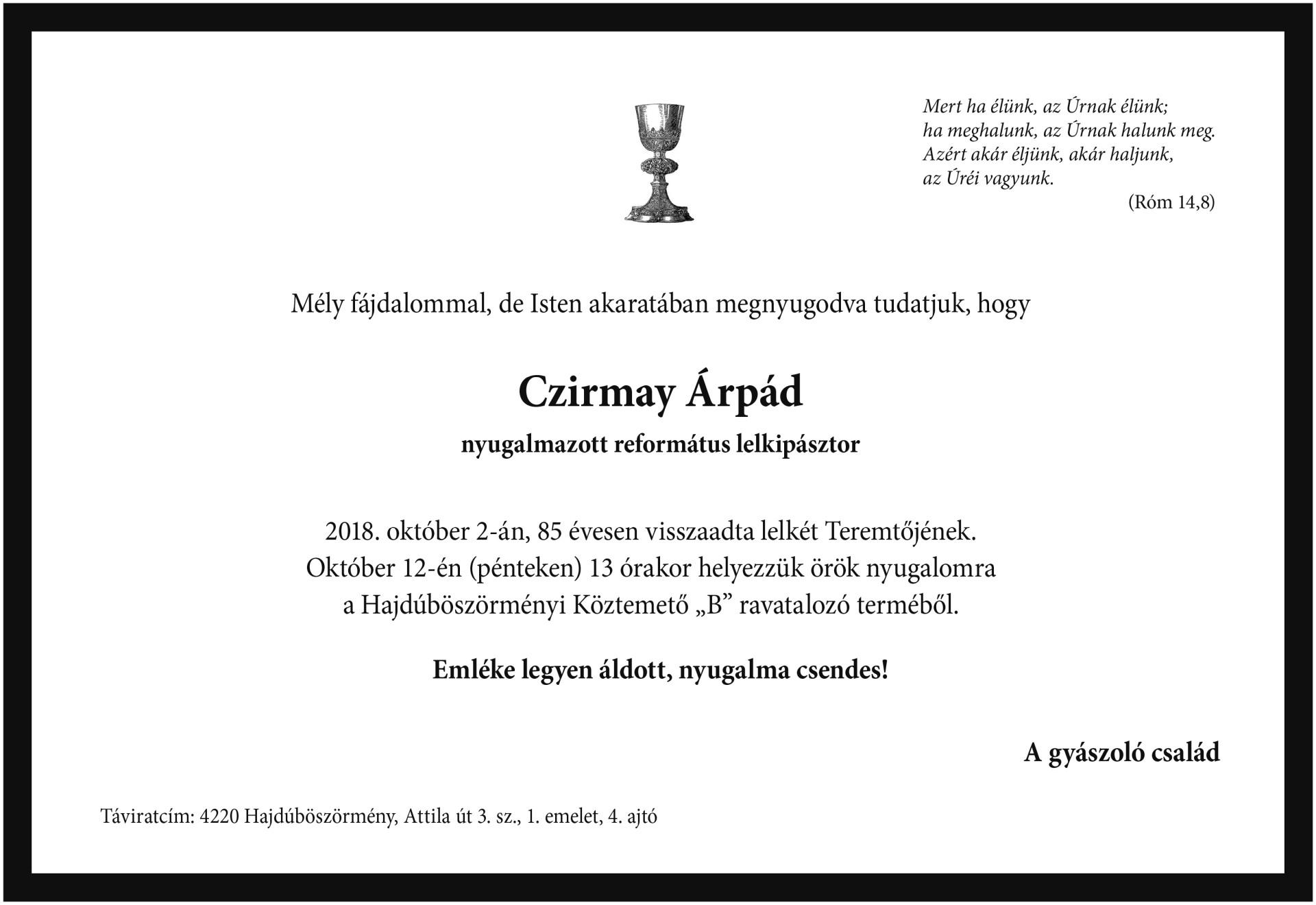 Gyászjelentés - Czirmay Árpád