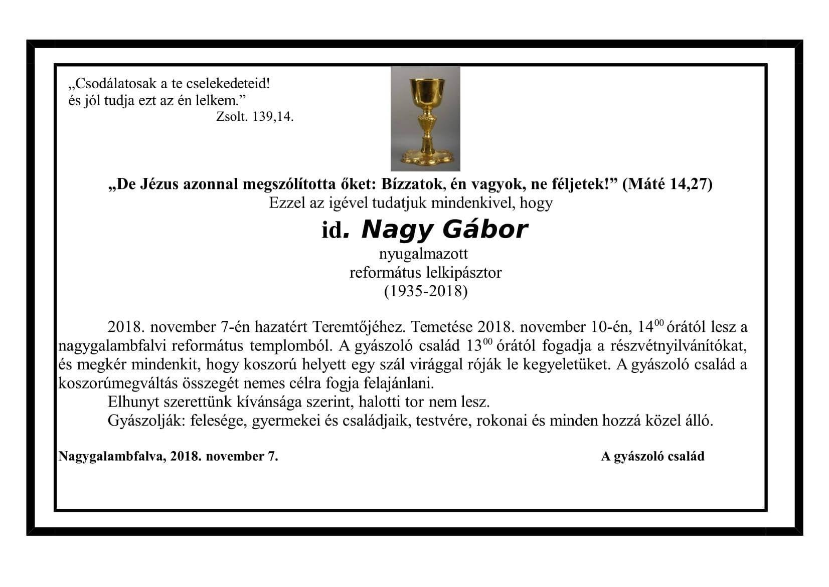 Gyászjelentés - Nagy Gábor