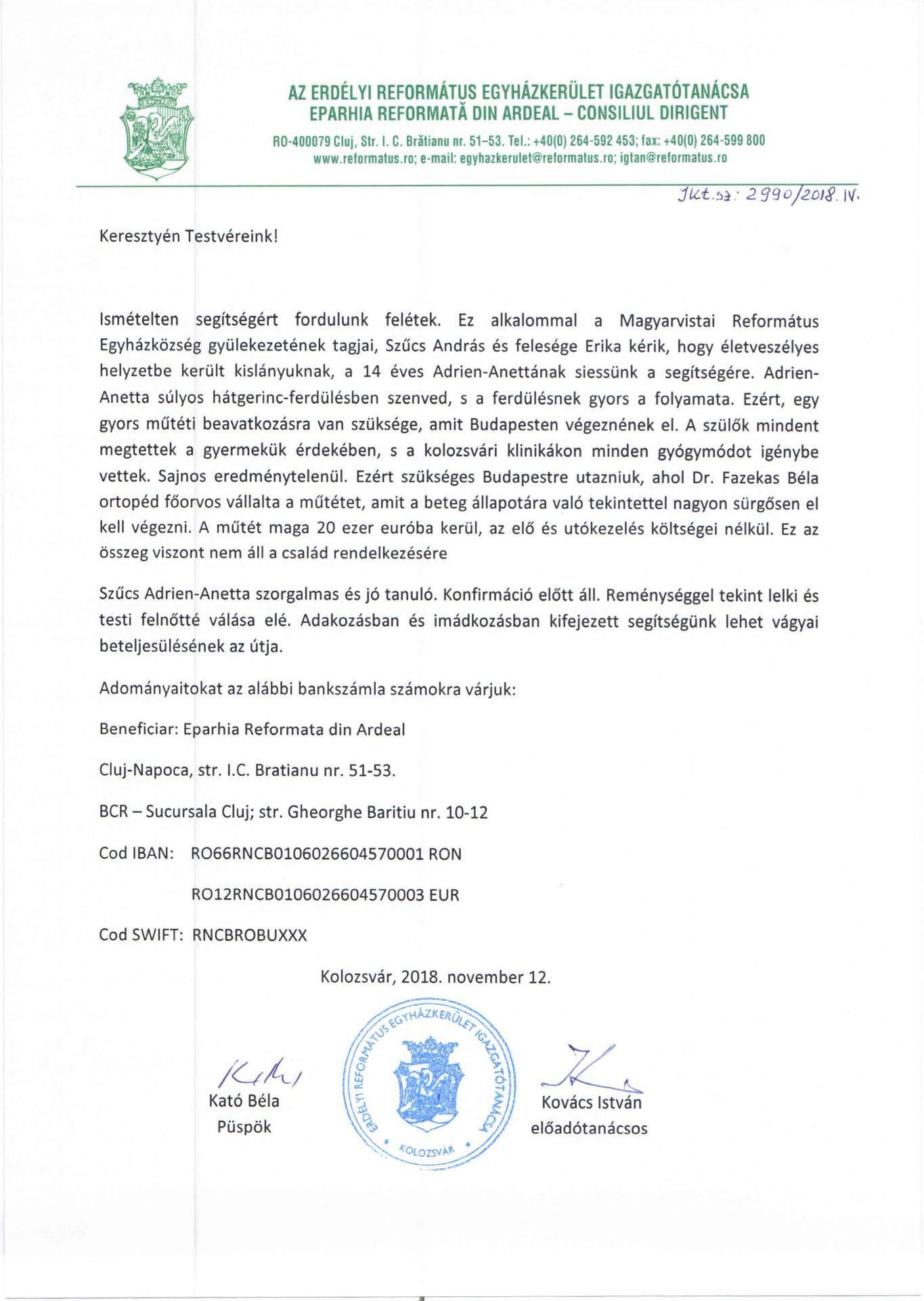 Felhívás - adománygyűjtés Szűcs Adrien-Anetta számára