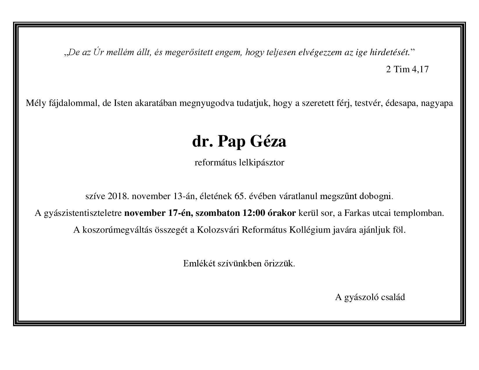 Gyászjelentő - dr. Pap Géza