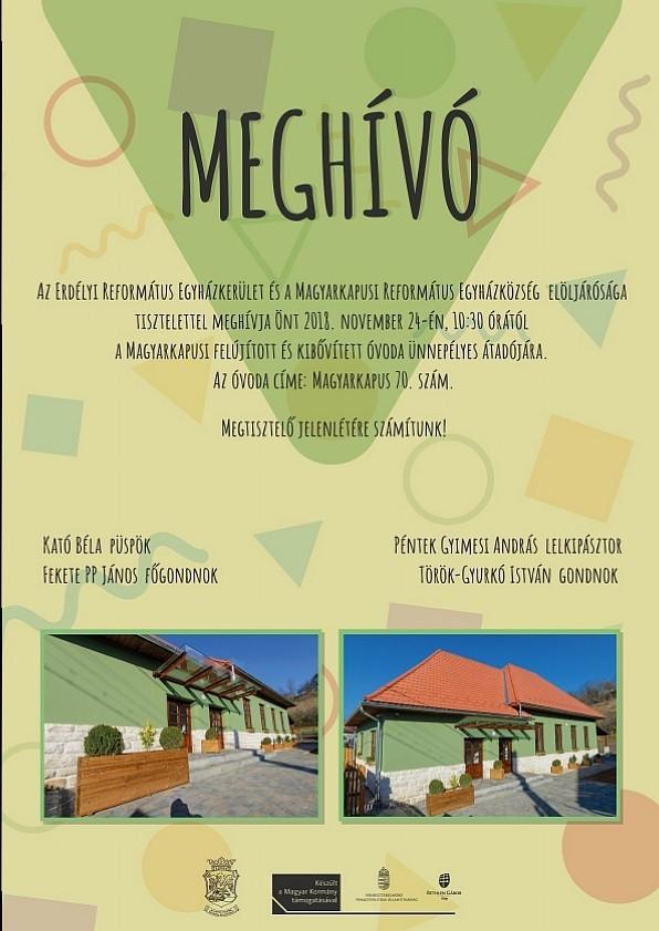 Meghívó - Magyarkapusi óvoda átadása