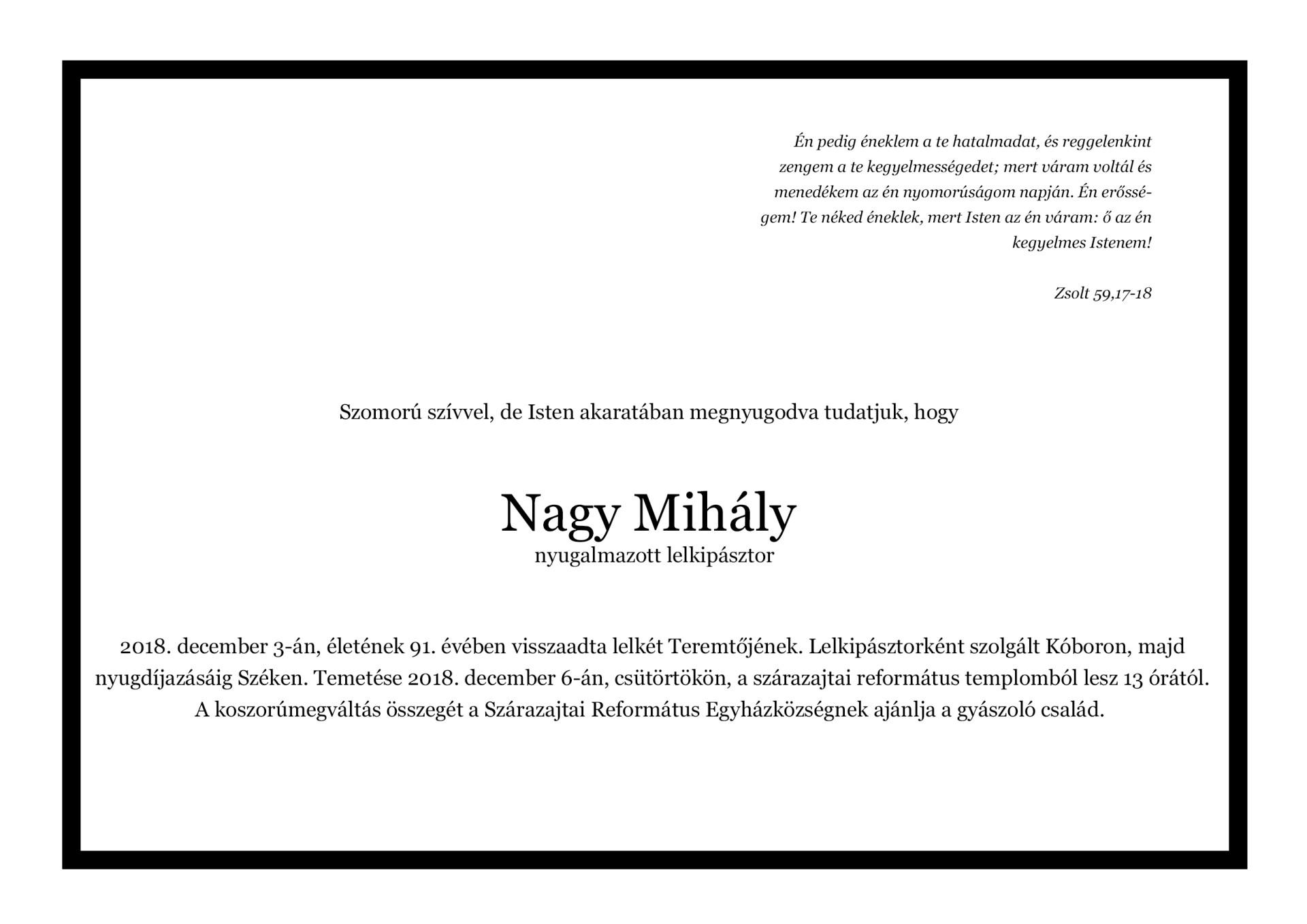 Gyászjelentő - Nagy Mihály