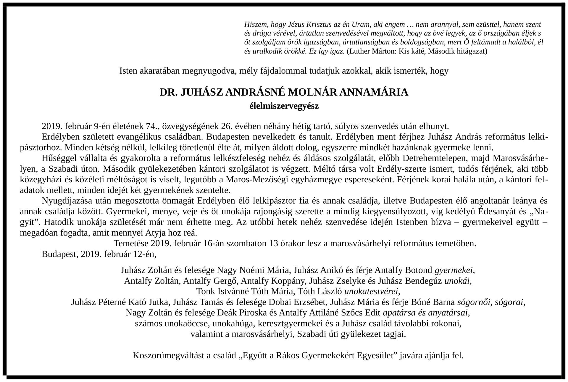 Gyászjelentő - Dr. Juhász Andrásné Molnár Annamária