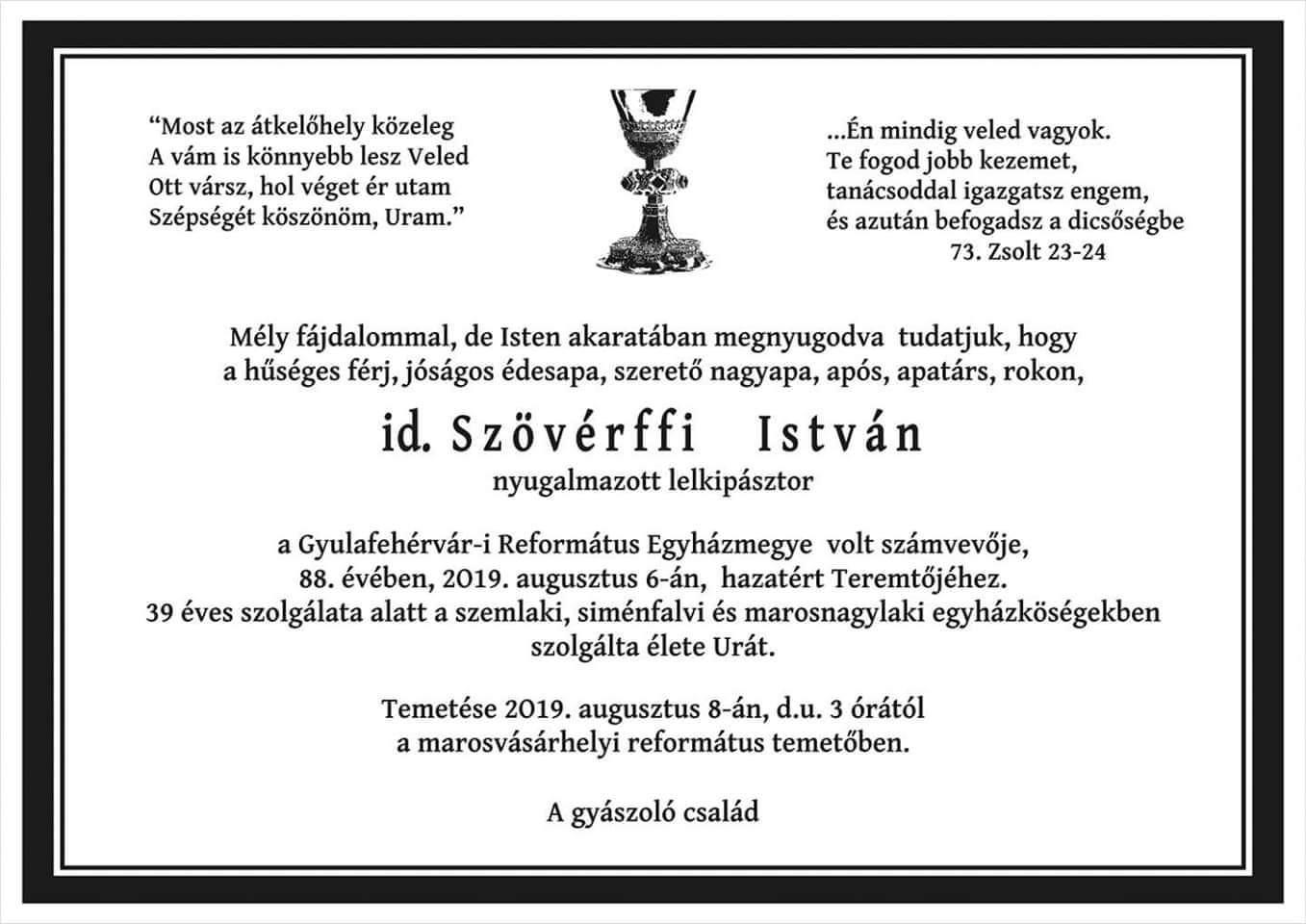 Gyászjelentő - id. Szövérffi István