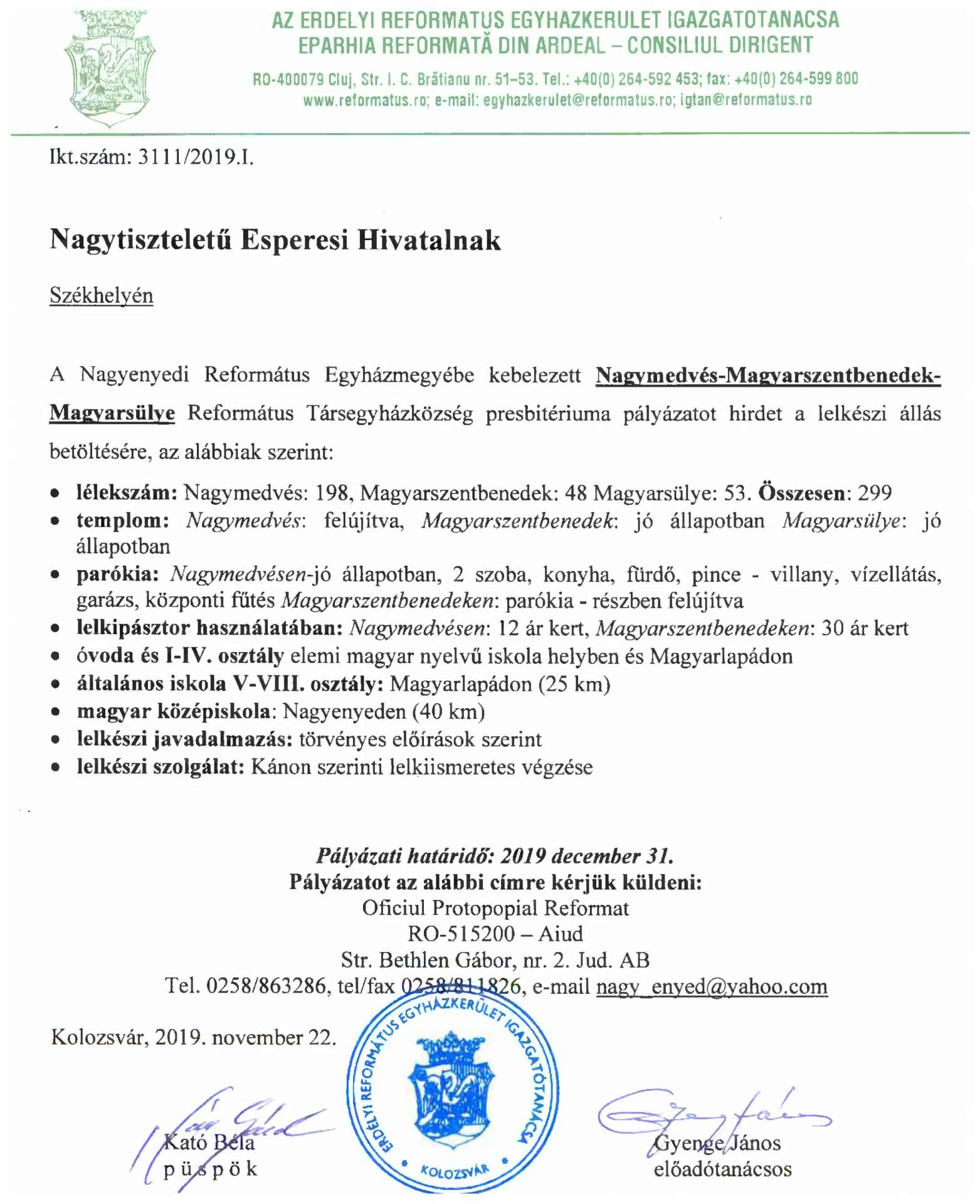 Pályázat - Nagymedvés-Magyarszentbenedek-Magyarsülye
