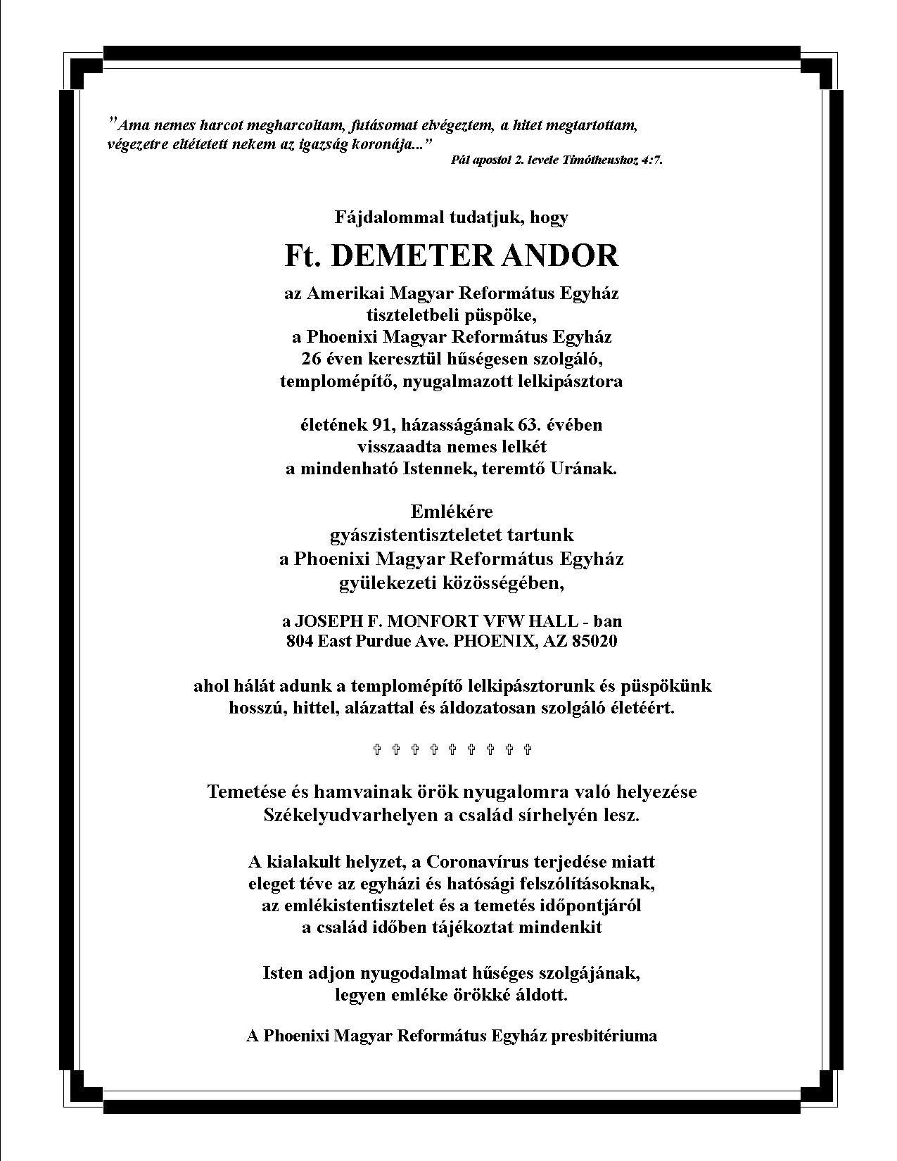 Gyászjelentő - Ft. Demeter Andor