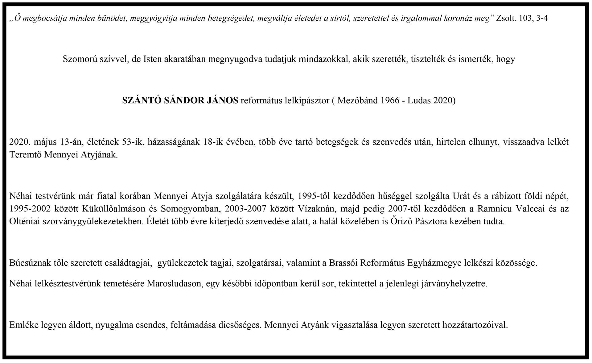Gyászjelentő - Szántó Sándor János